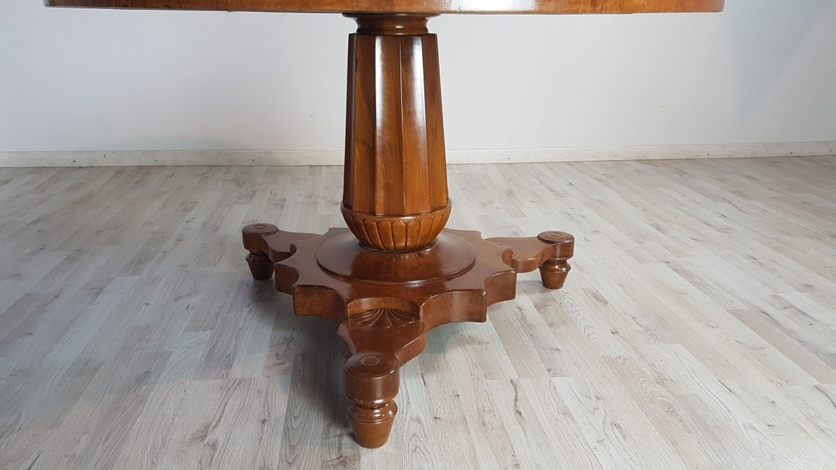 19th Century Antique Empire Walnut Carved Inlay Round Table