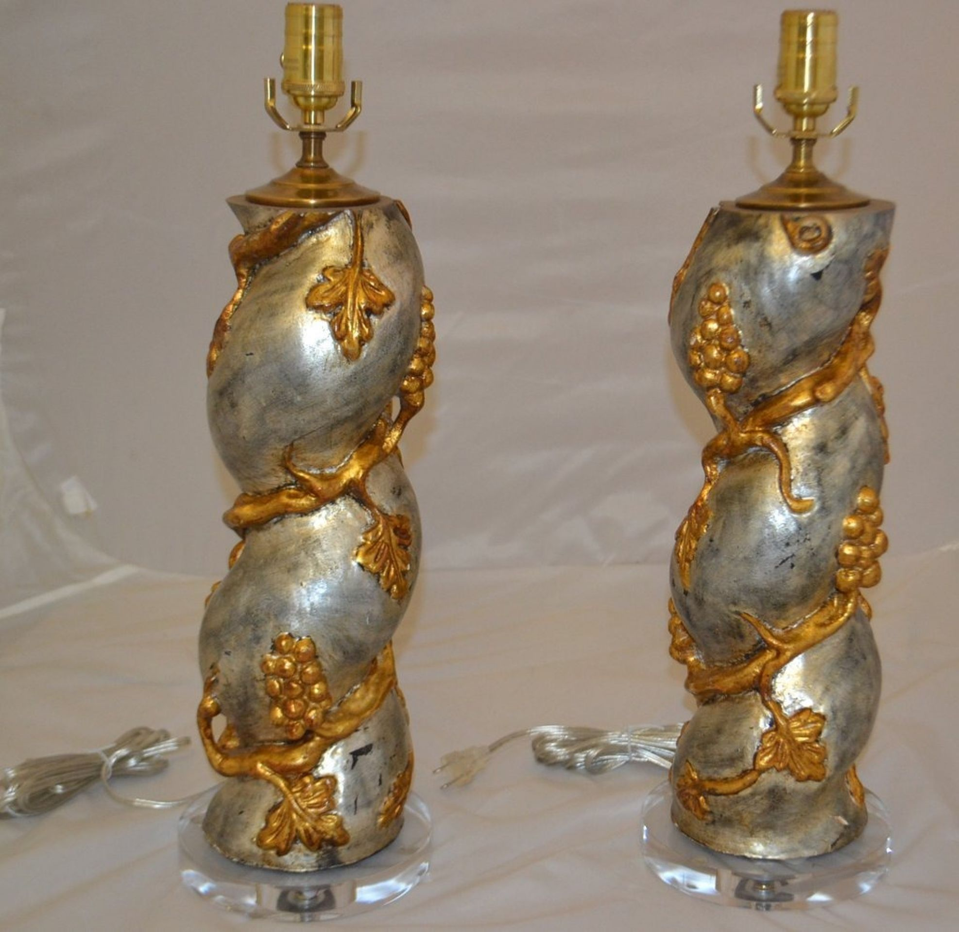Pair of Carved and Gilded Table Lamps