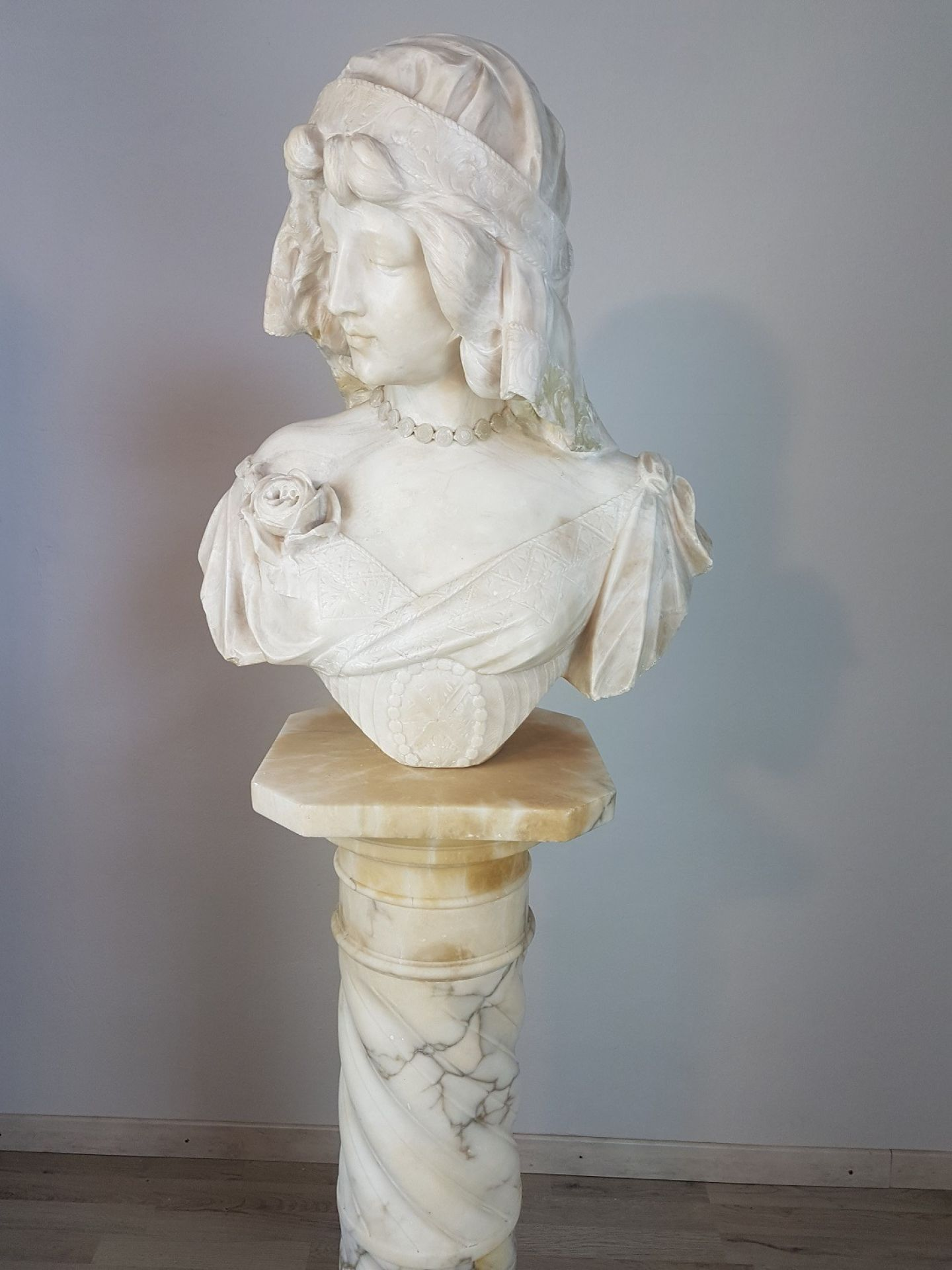 19th Century Italian A. Cipriani Carrara Marble Bust of a Young Woman Sculpture