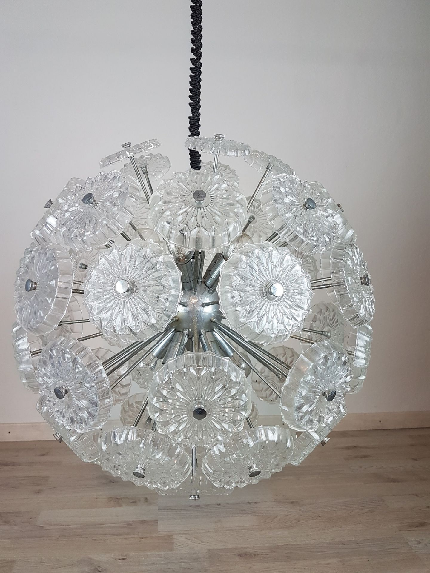 Sputnik Glass and Chrome Italian Design Chandelier, 1980s