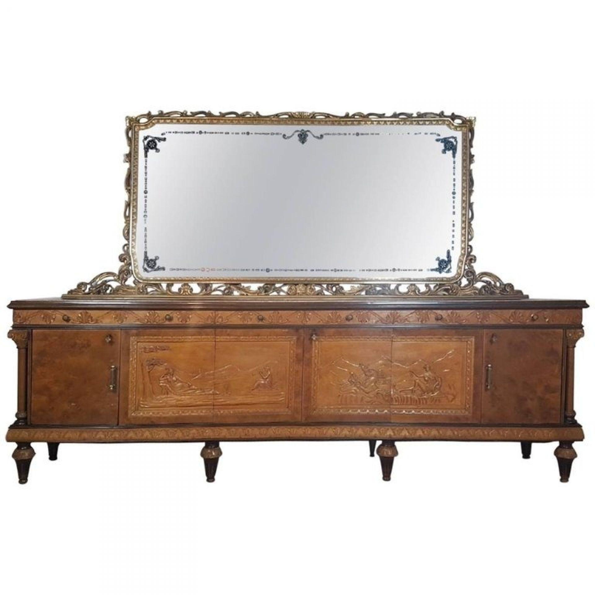 Italian Neoclassic Style Wood Briar, Gilt, Marble Luxury Dining Room Set