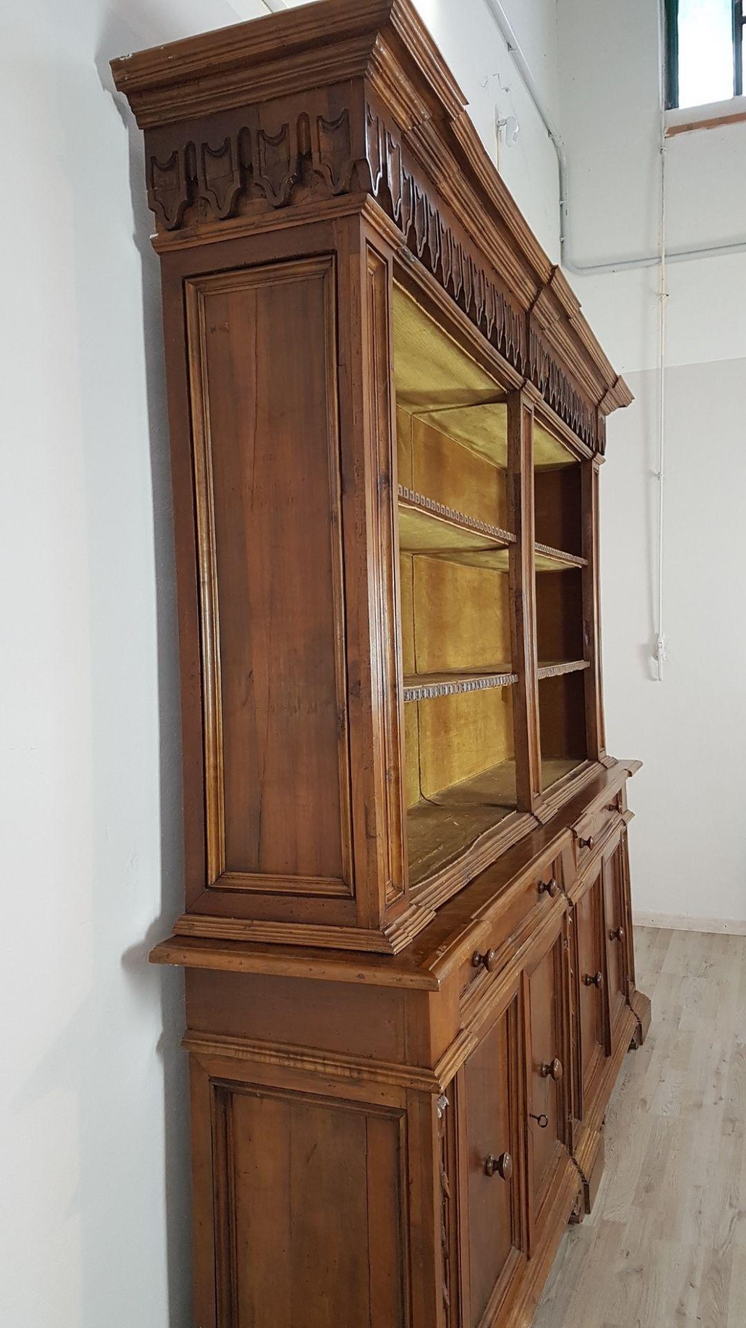 19th Century Antique Italian Walnut Wood Bookcase or Sideboard