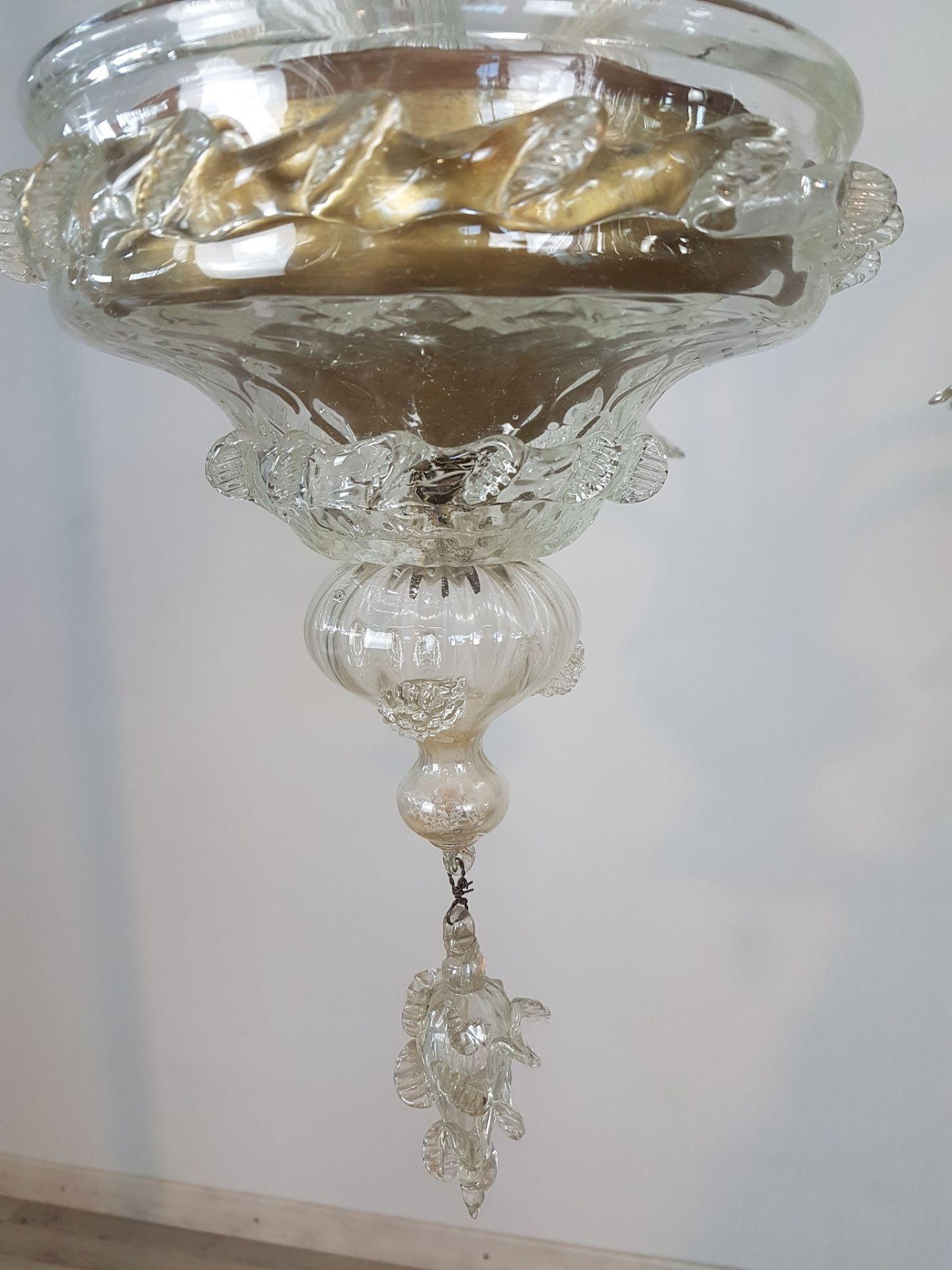 20th Century Transparent Murano Glass Italian Chandelier