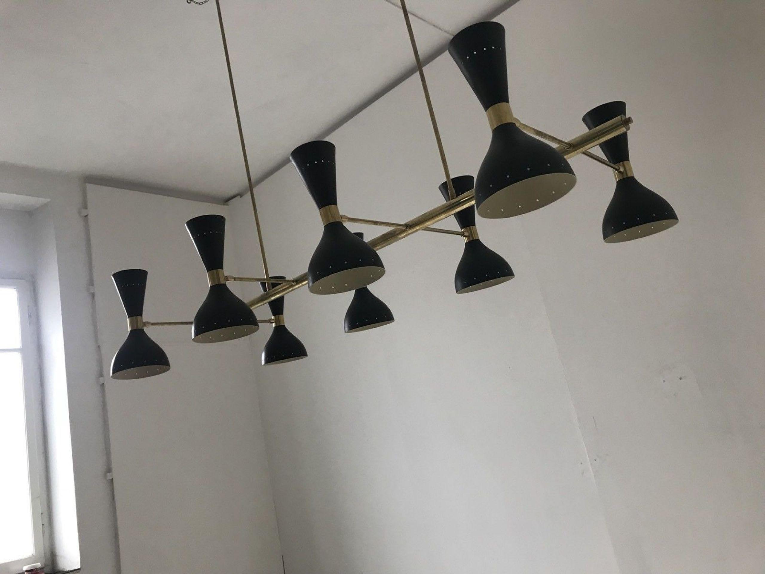 20th Century by Stilnovo Enamel and Brass Black Italian Design Chandelier, 1950s