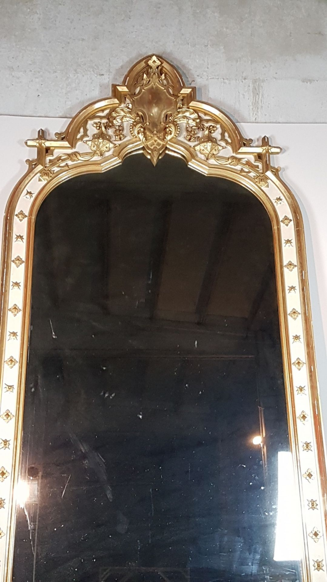 19th Century Italian Baroque Style Carved Lacquered Large Golden Wood Mirror