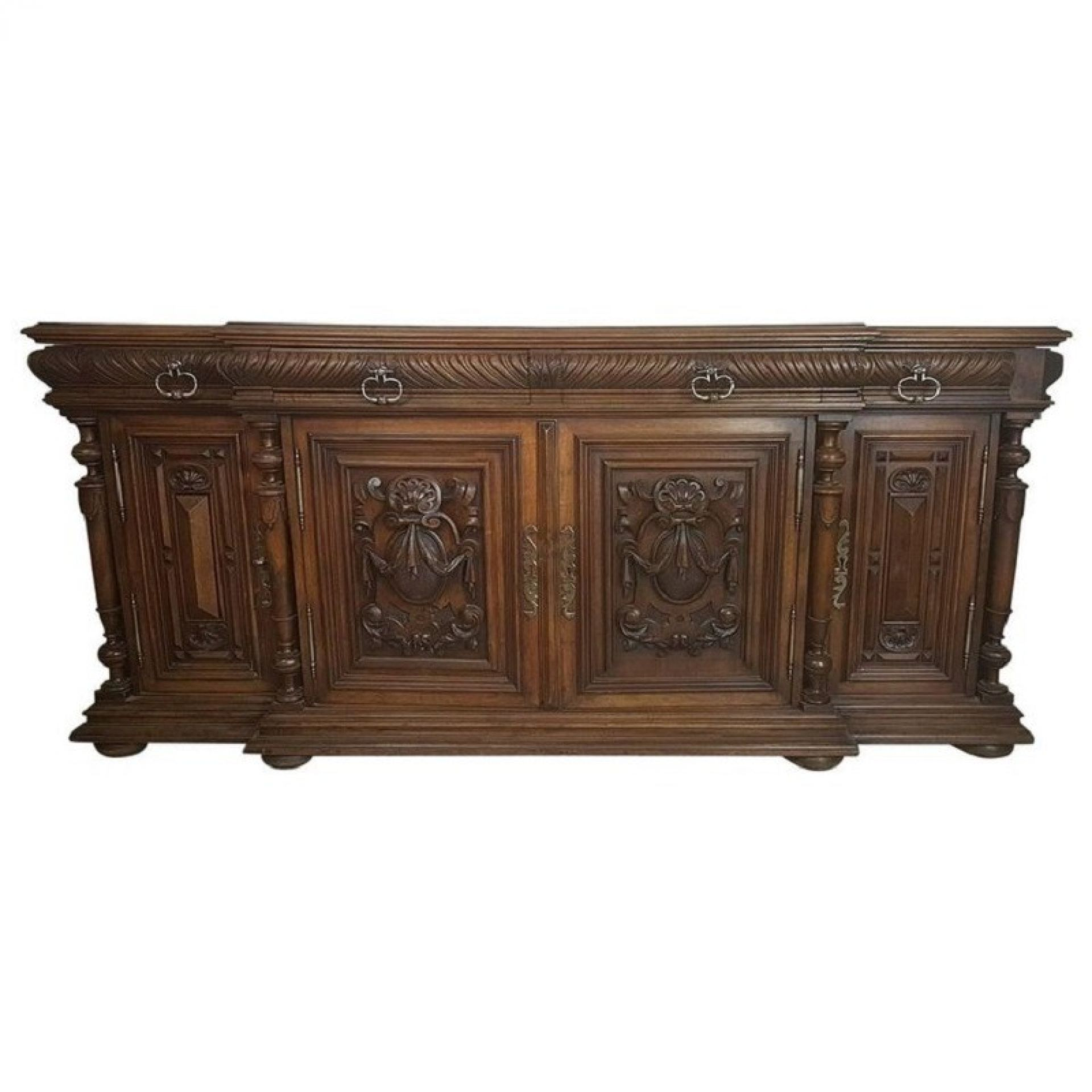 19th Century Italian Neoclassical Style Walnut Carved Sideboard