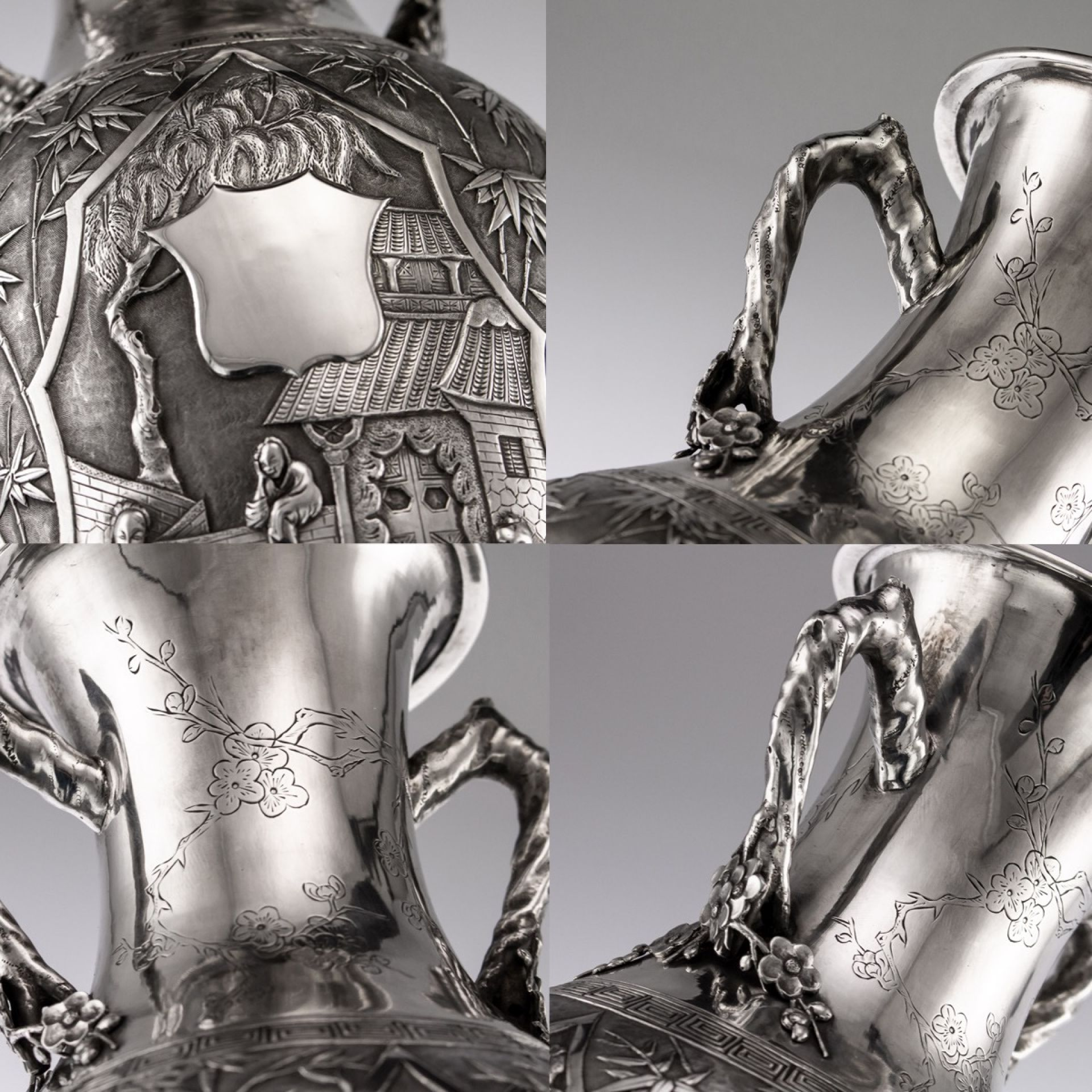 ANTIQUE 19thC CHINESE EXPORT SOLID SILVER MASSIVE VASE, CUM WO c.1890