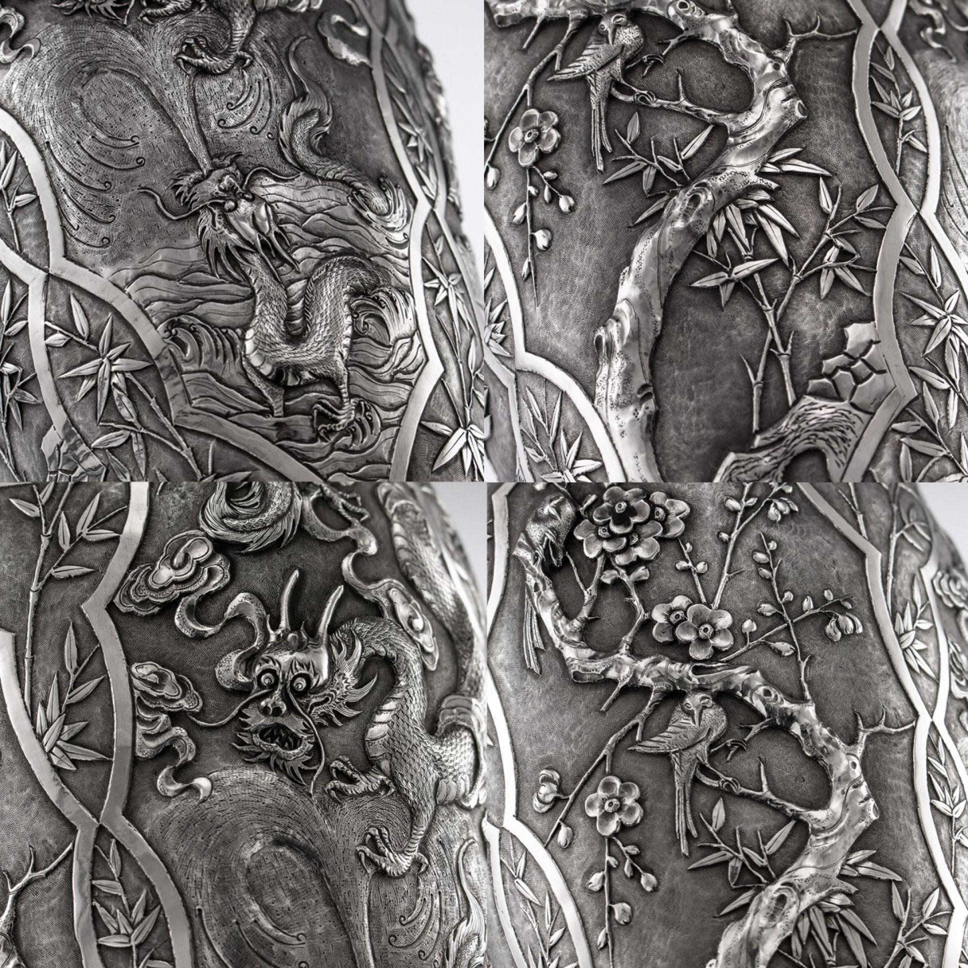 ANTIQUE 19thC CHINESE EXPORT SOLID SILVER MASSIVE VASE, CUM WO c.1890