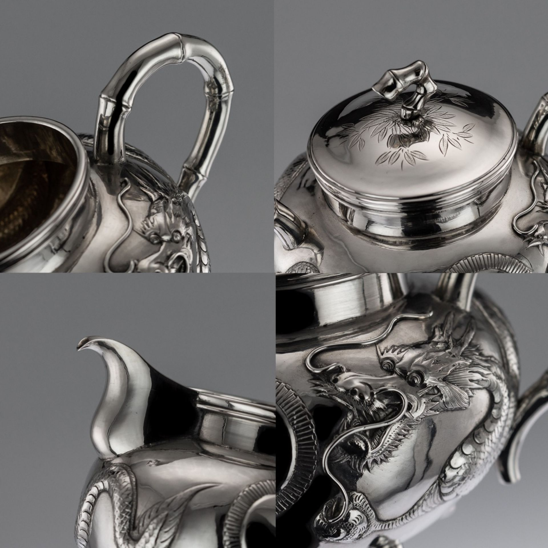 ANTIQUE 20thC CHINESE EXPORT SOLID SILVER DRAGON TEA SET, KWAN WO c.1900