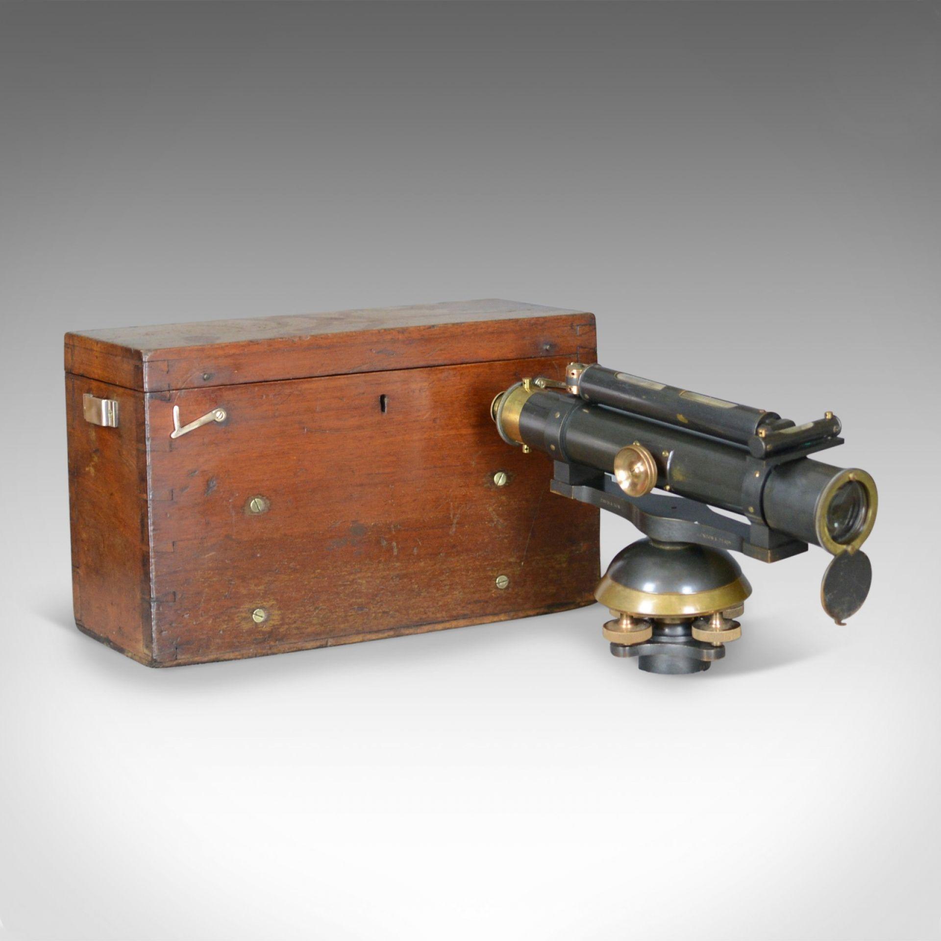 Vintage Surveyors Level in Case, Scientific Instrument, John Davis and Son c1940