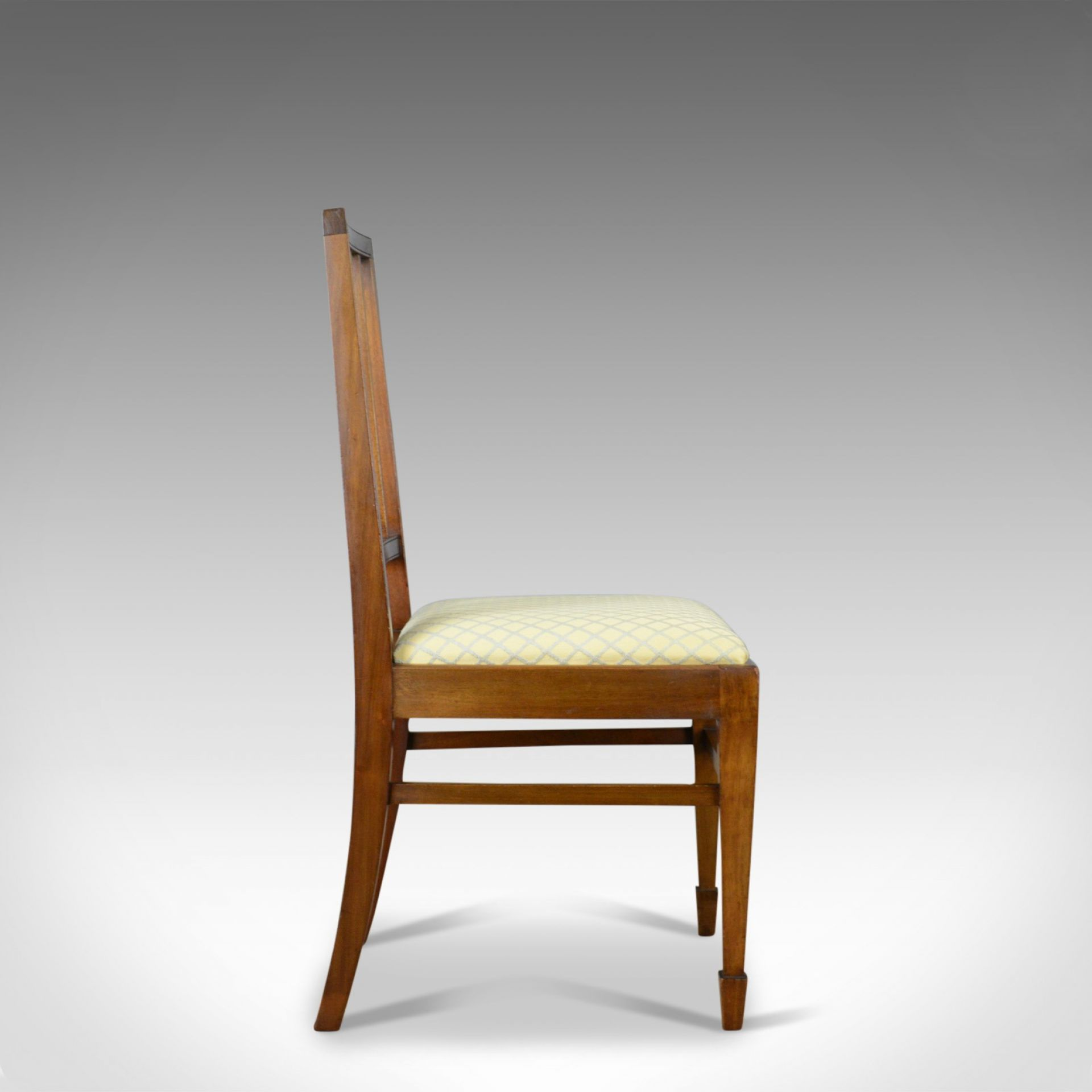 Set of Four Antique Dining Chairs, Mahogany, Edwardian Sheraton Revival c.1910
