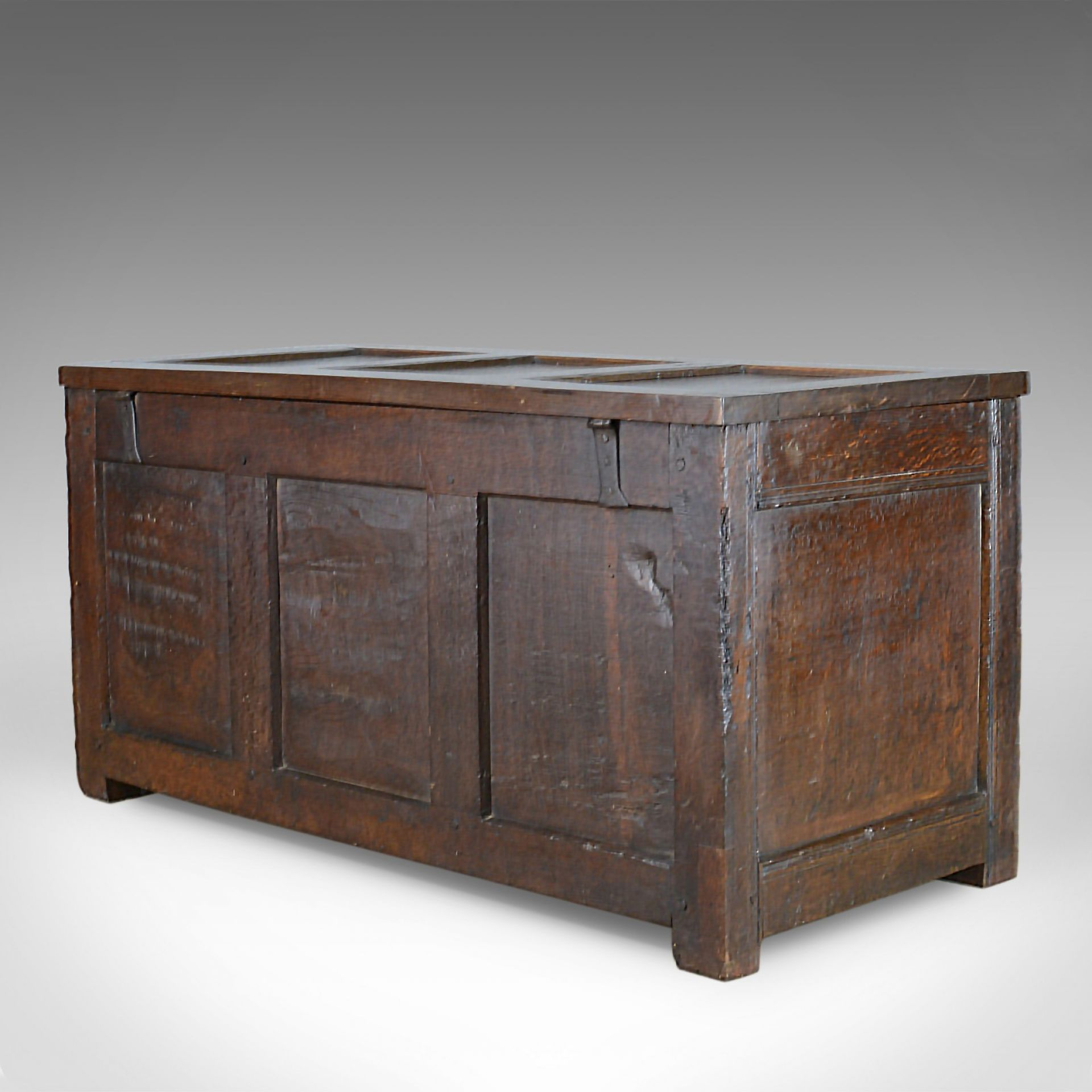 Antique Coffer, Oak, Joined Chest, Three Panel Trunk, Early 18th Century c.1700