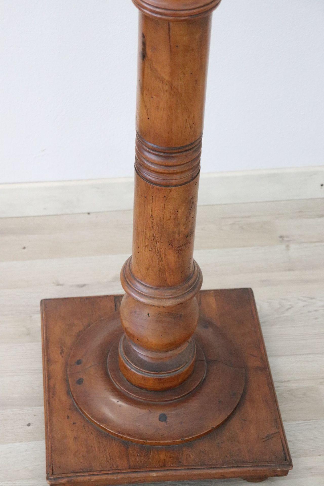 19th Century Italian Antique Column in Turned Walnut