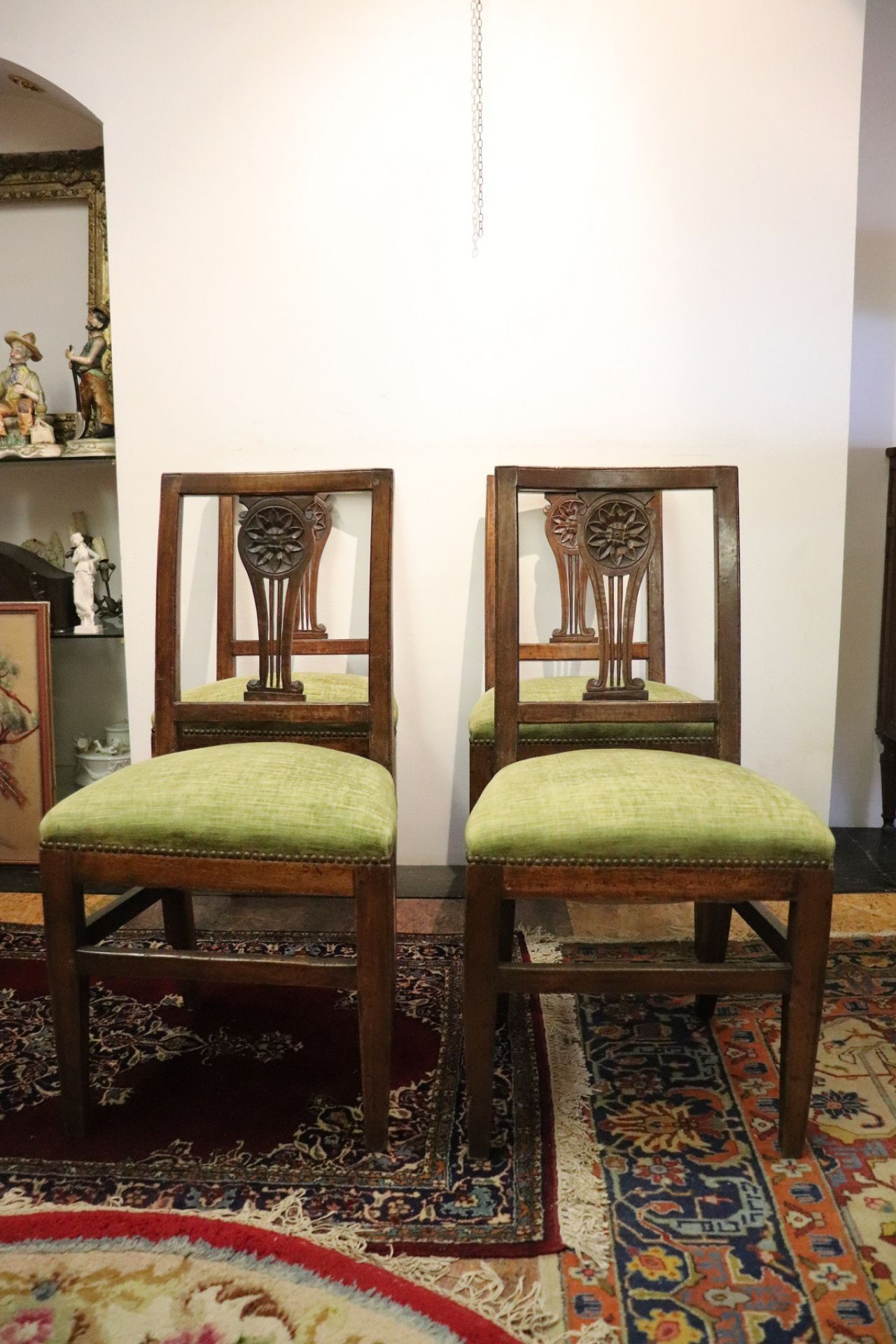 18th Century Italian Louis XVI Carved Walnut Wood Four Antique Chairs