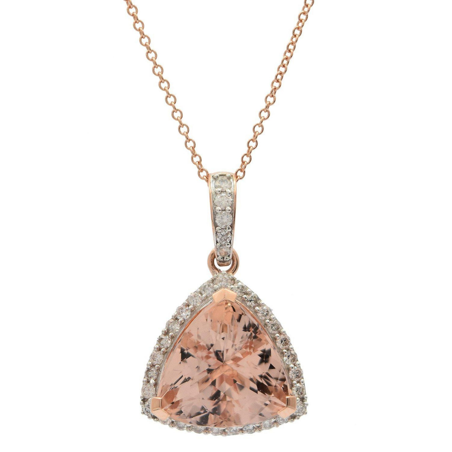 5.67ct Morganite and 0.38ctw Diamond Pendant/Necklace