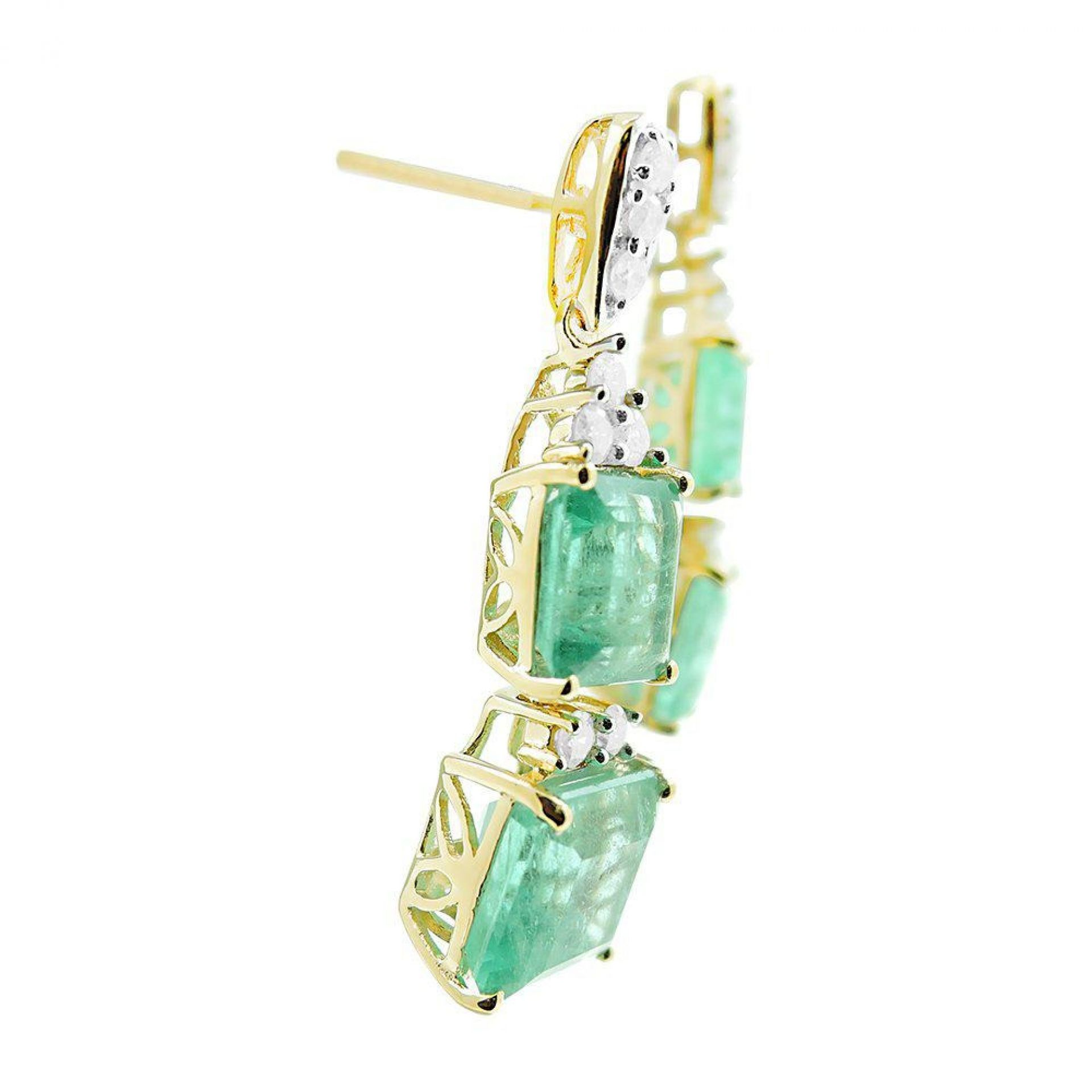 8.69ctw Emerald and 0.50ctw Diamond Earrings