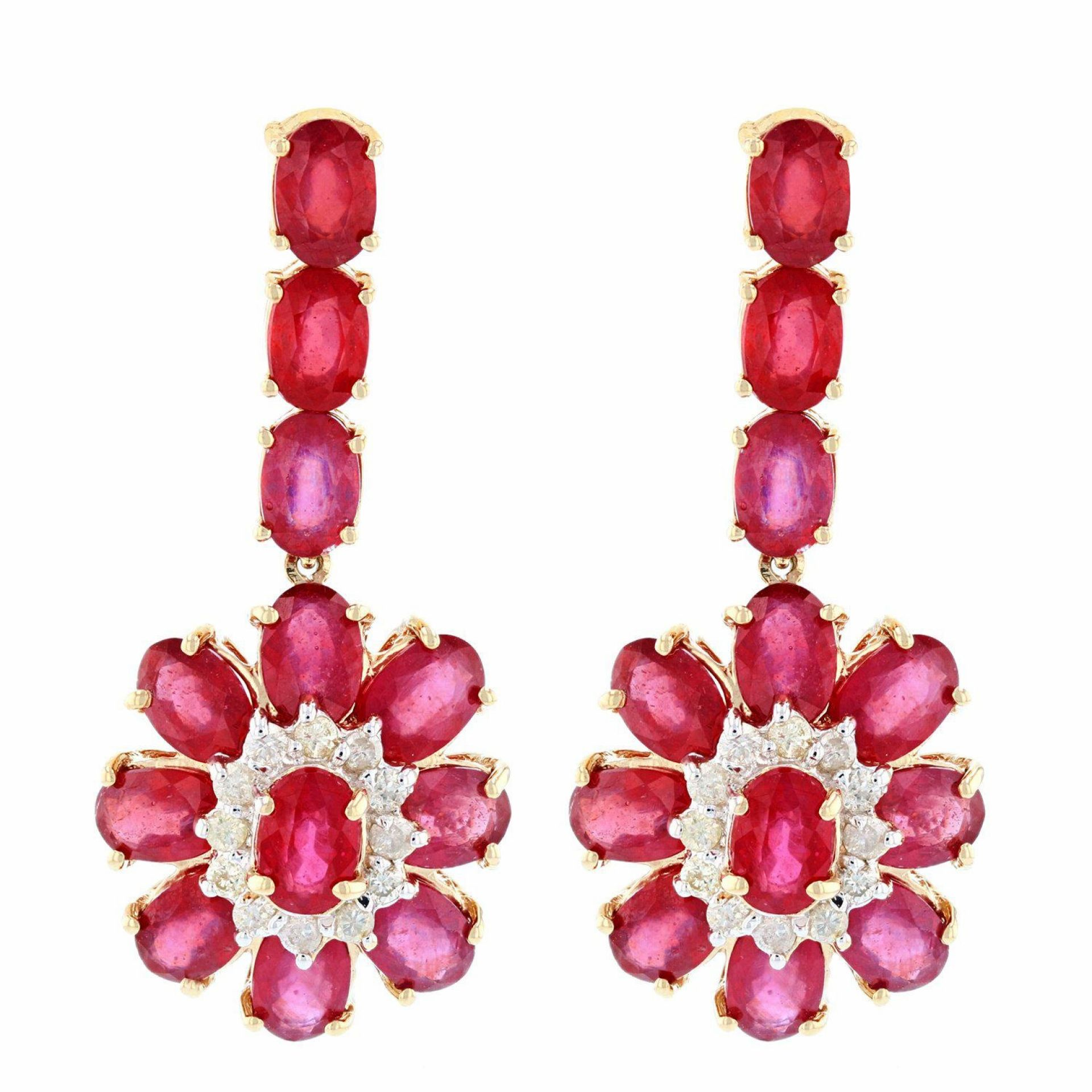 15.98ctw Ruby and 0.54ctw Diamond 14K Yellow Gold Earrings