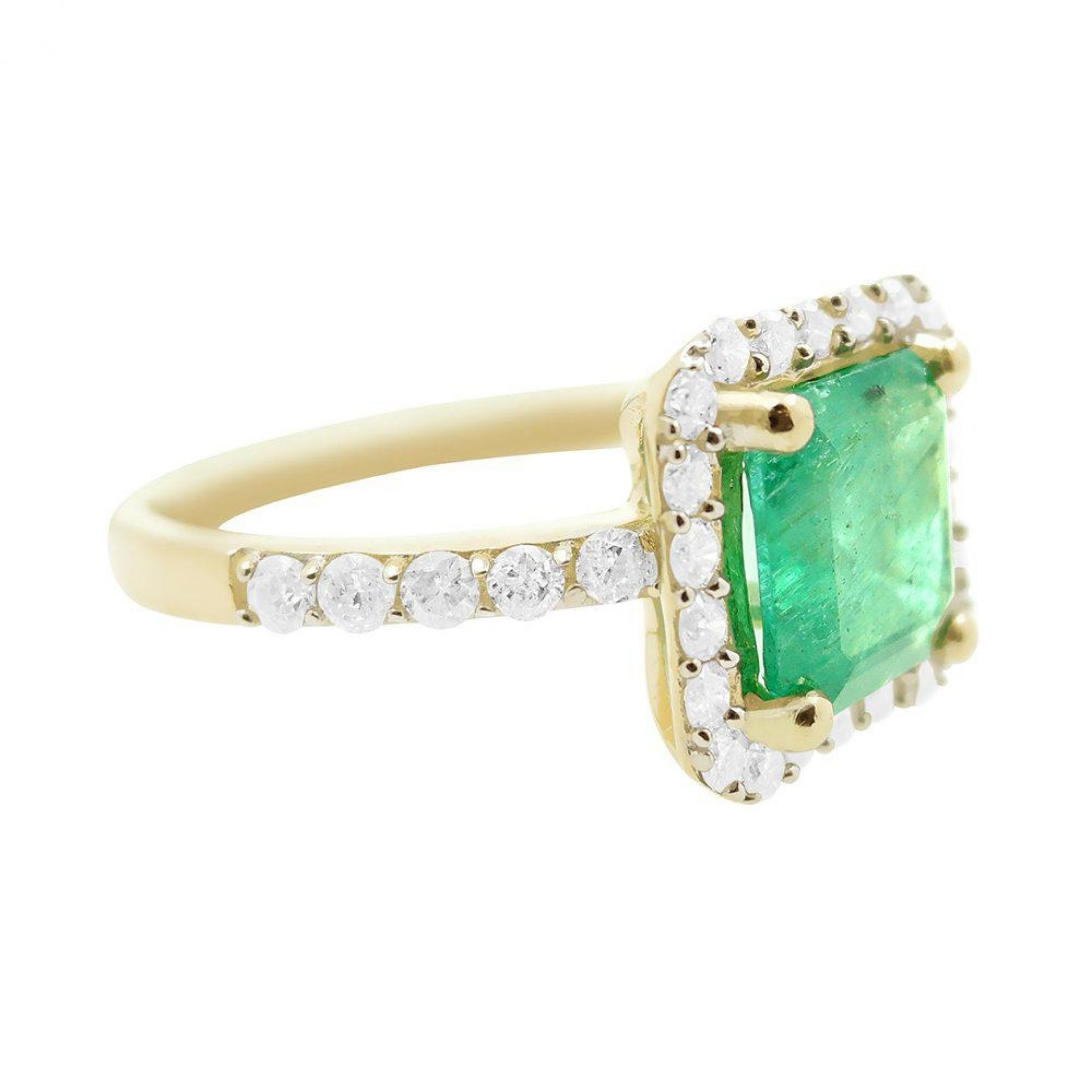 1.66ct Emerald and 0.51ctw Diamond 14K Yellow Gold Ring
