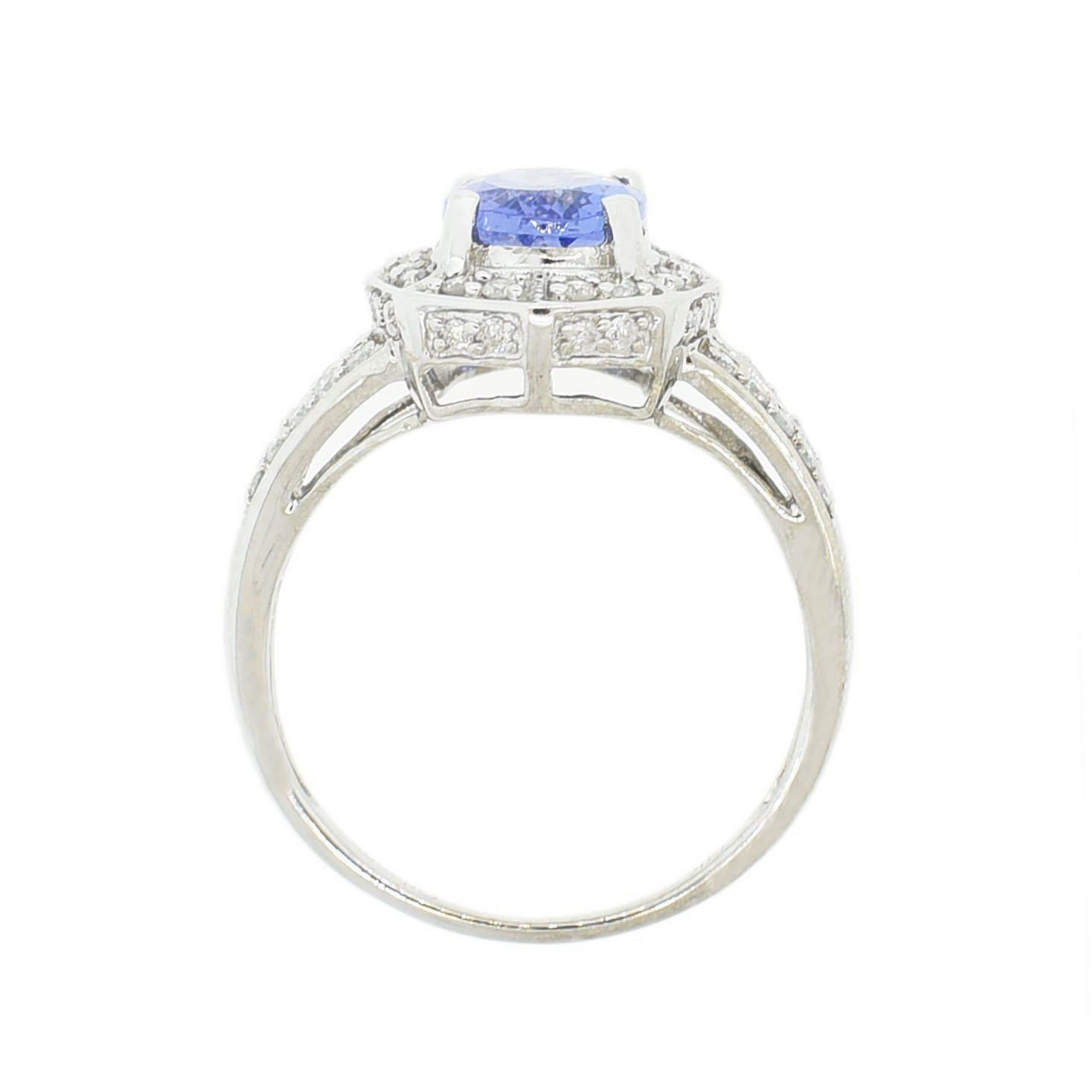 1.79ct Tanzanite and 0.34 Diamond 14K White Gold Ring