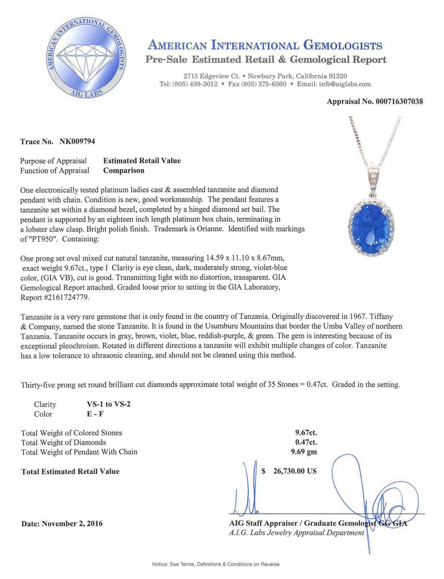 9.67ct DARK Tanzanite and 0.47ctw Diamond Platinum Pendant/Necklace (GIA CERTIFI