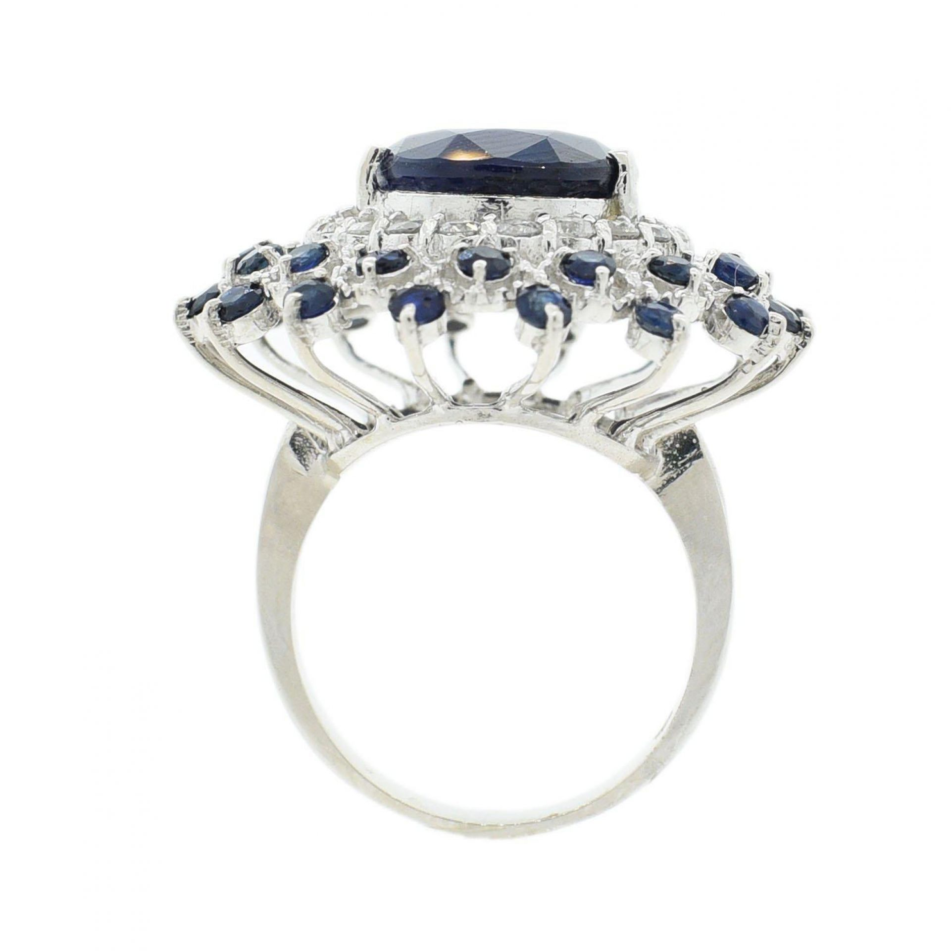 12.85ctw Blue Sapphire and 0.84ctw Diamond 14K White Gold Ring