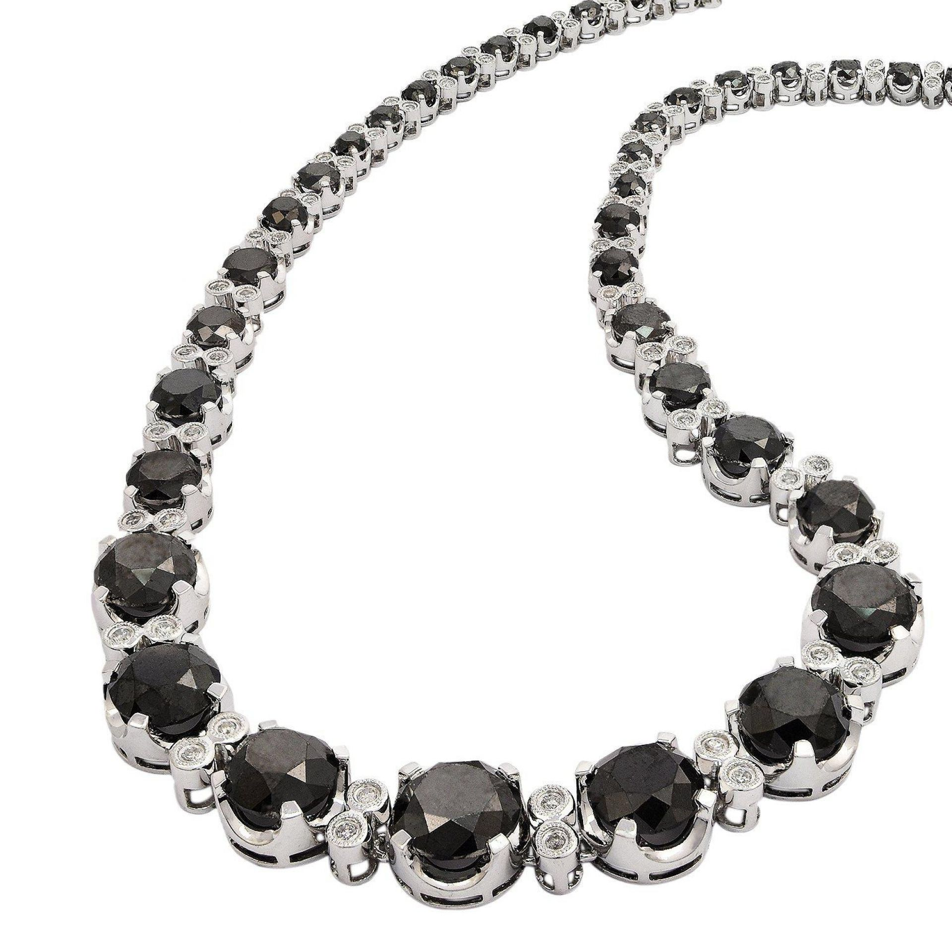 51.17ctw Black and 1.45ctw White Diamond 14KT White Gold Necklace