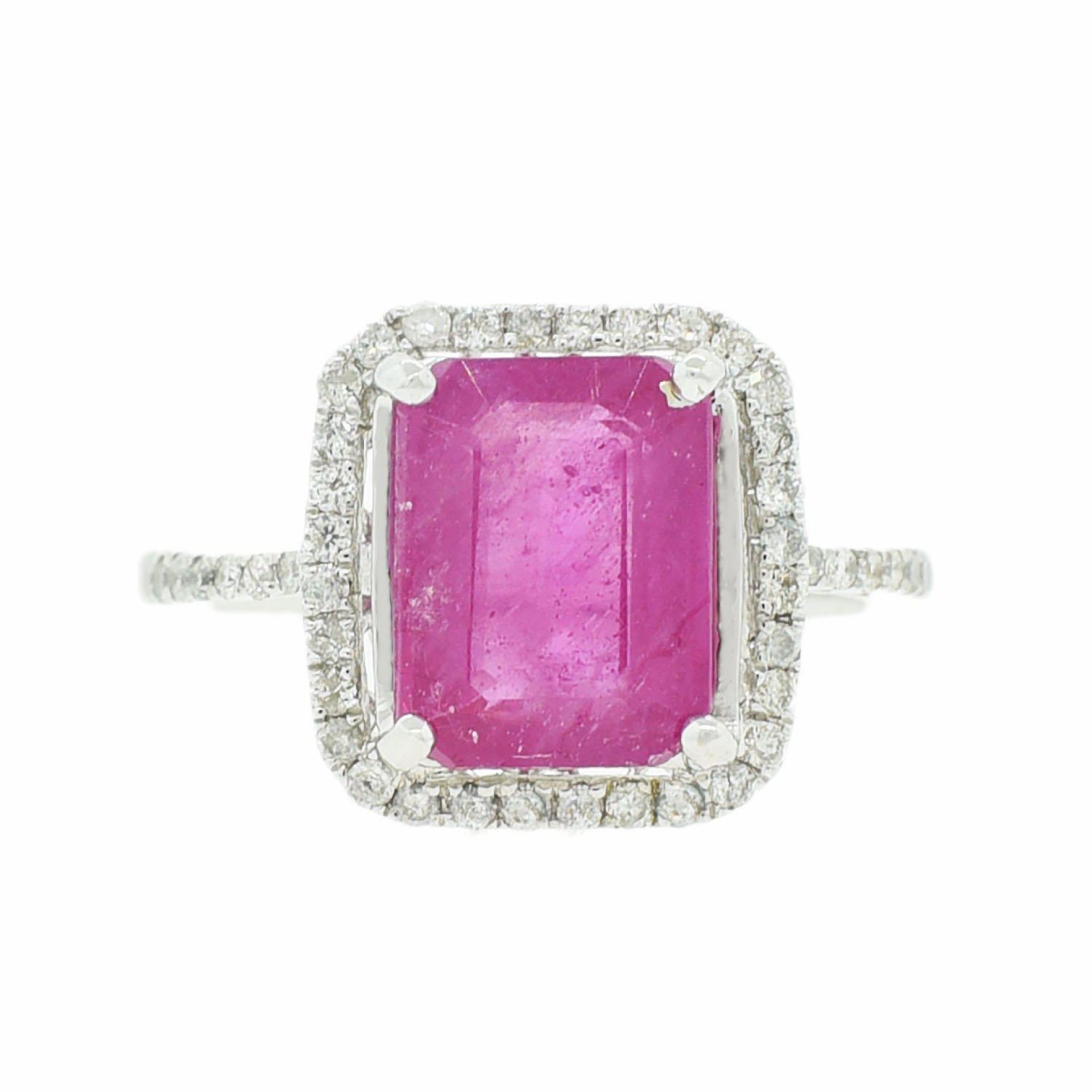 4.40ct Ruby and 0.33ctw Diamond 14K White Gold Ring