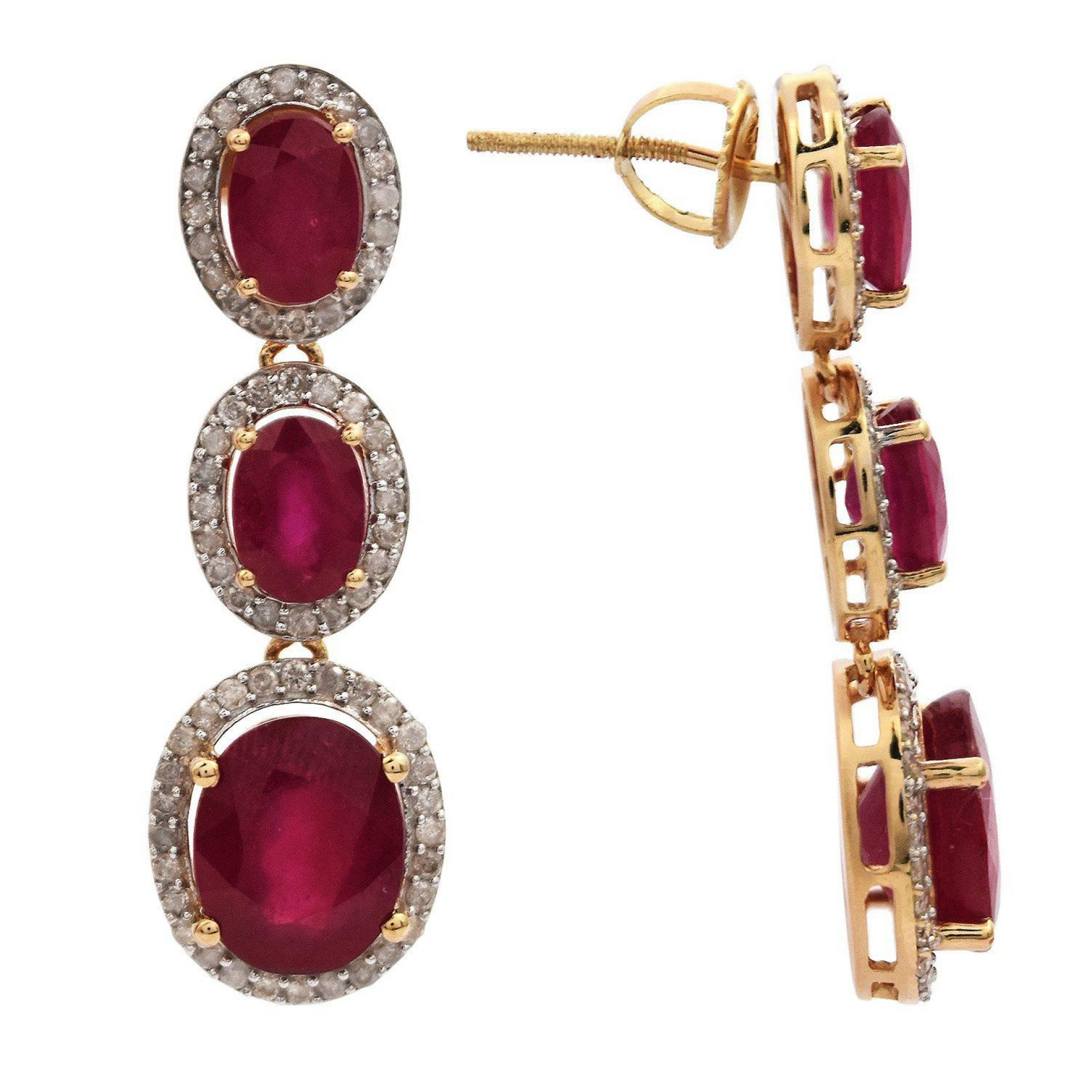 12.96ctw Ruby and 1.04ctw Diamond Dangle Earrings