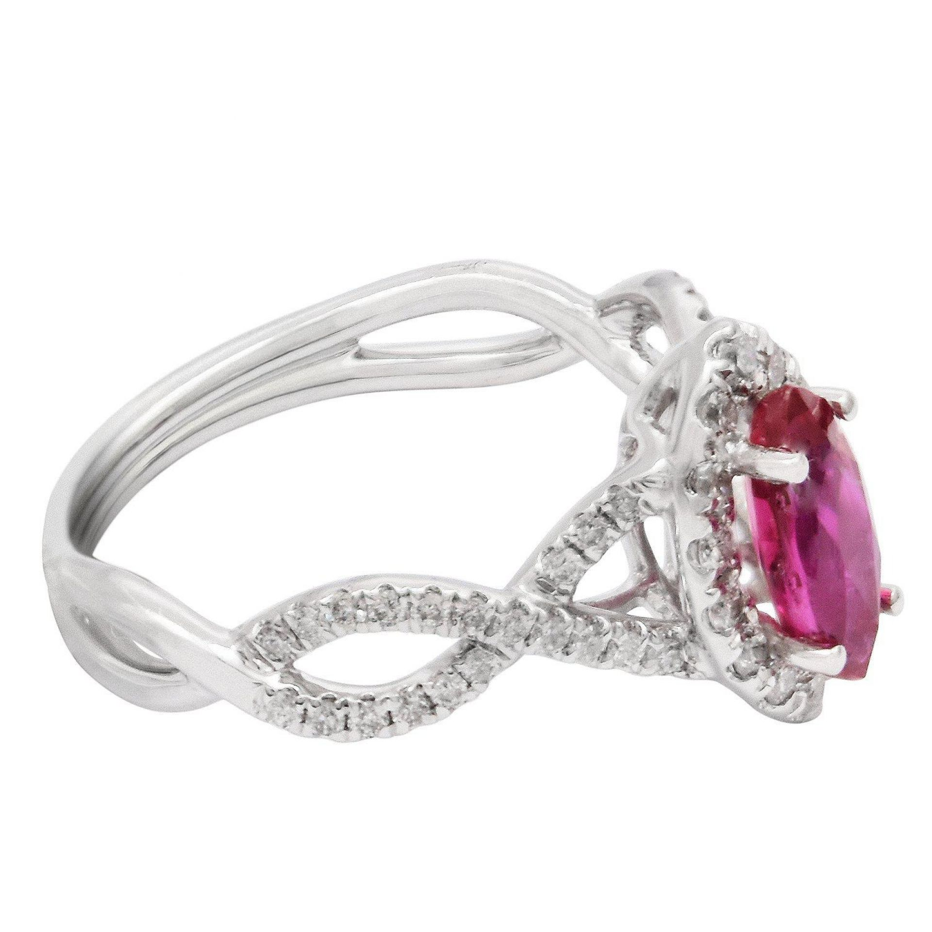 1.02ct UNHEATED Ruby and 0.43ctw Diamond 18KT White Gold Ring