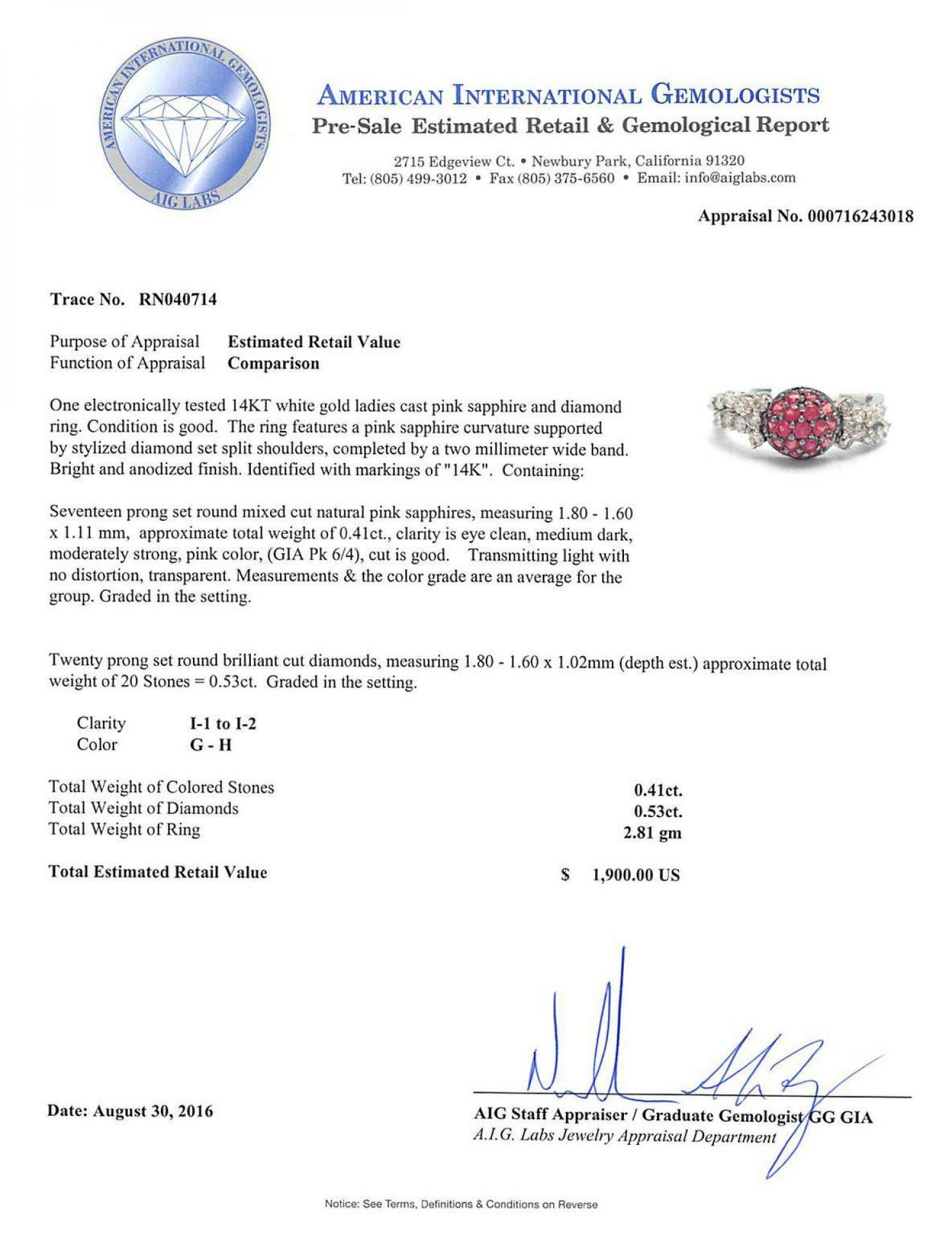 0.41ct Pink Sapphire and 0.53ctw Diamond 14KT White Gold Ring