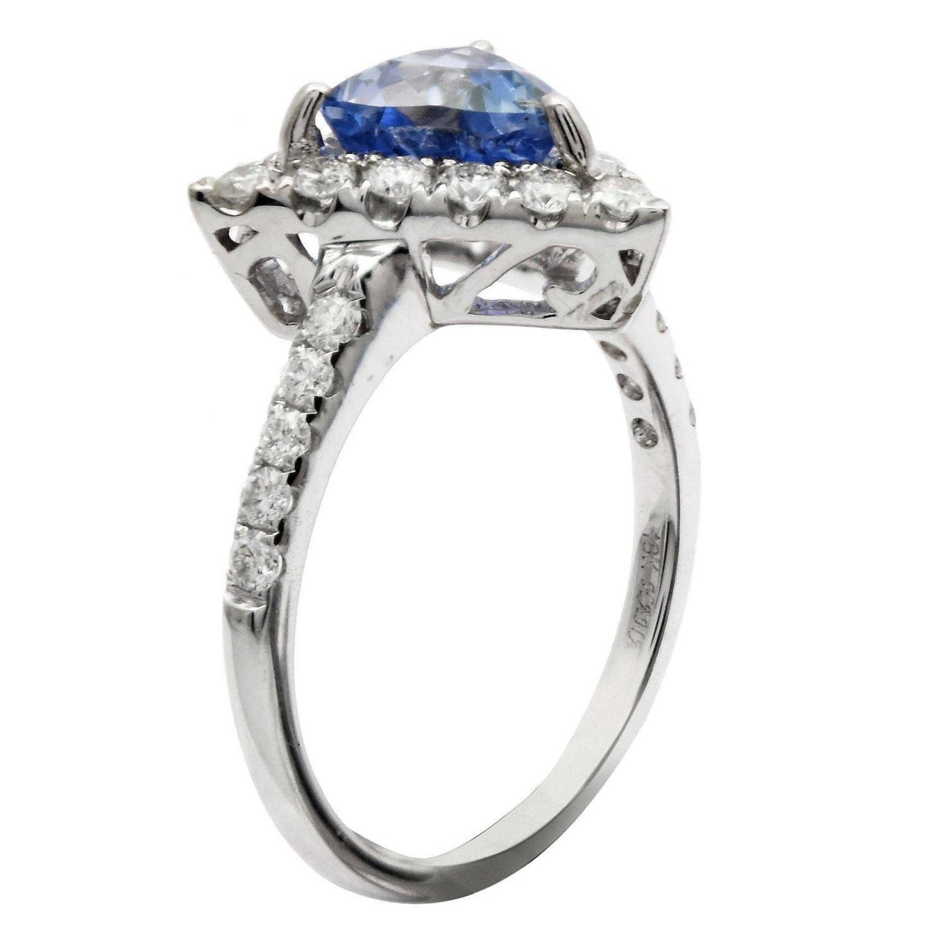 1.68ct UNHEATED Blue Sapphire and 0.62ctw Diamond 18K White Gold Ring