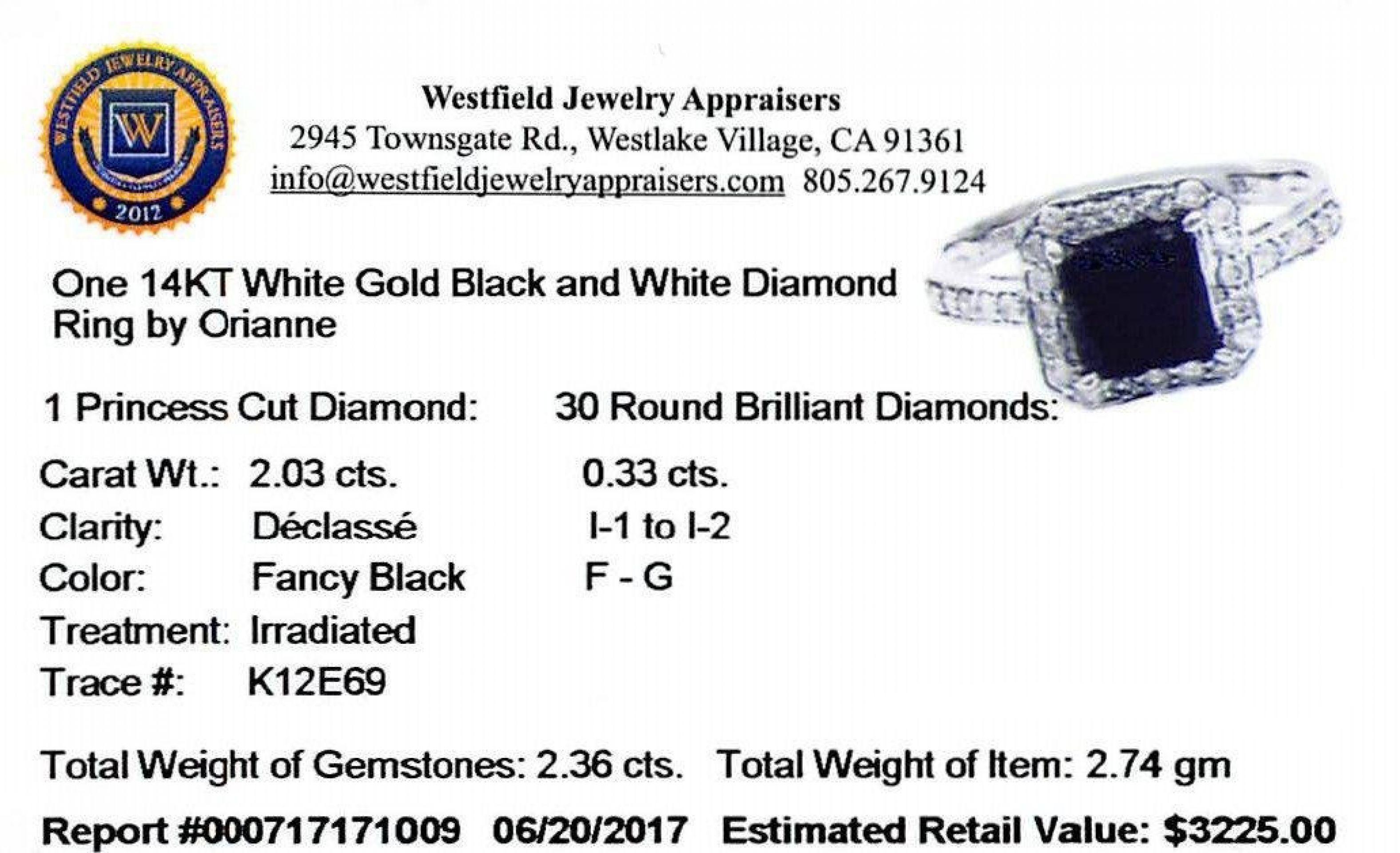 2.03ct Black and 0.33ctw White Diamond Ring