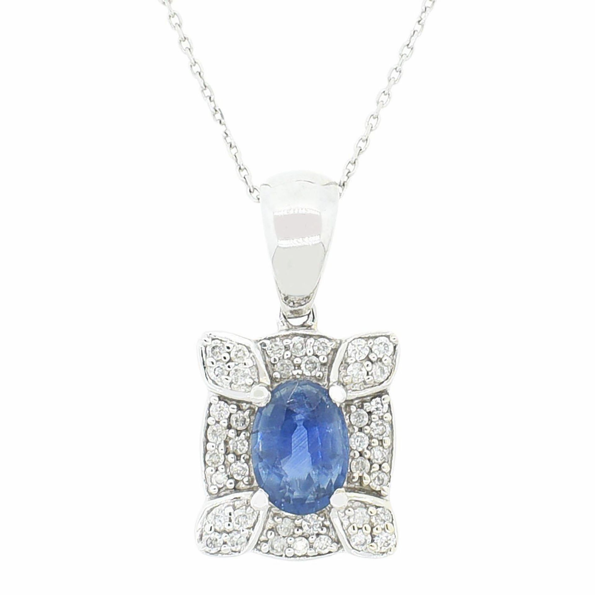 0.99ct Blue Sapphire and 0.19ctw Diamond 14K White Gold Pendant/Necklace