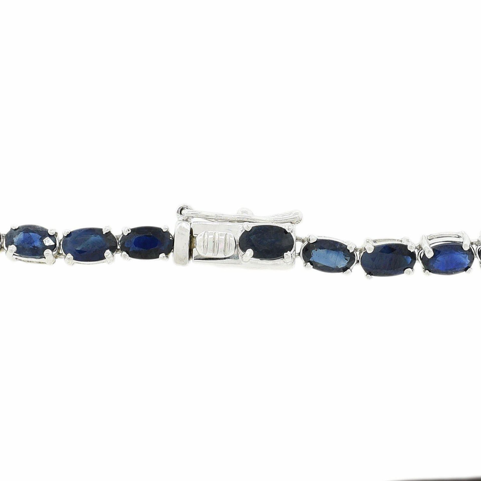 36.71ctw Blue Sapphire and 0.49ctw Diamond 14K White Gold Necklace