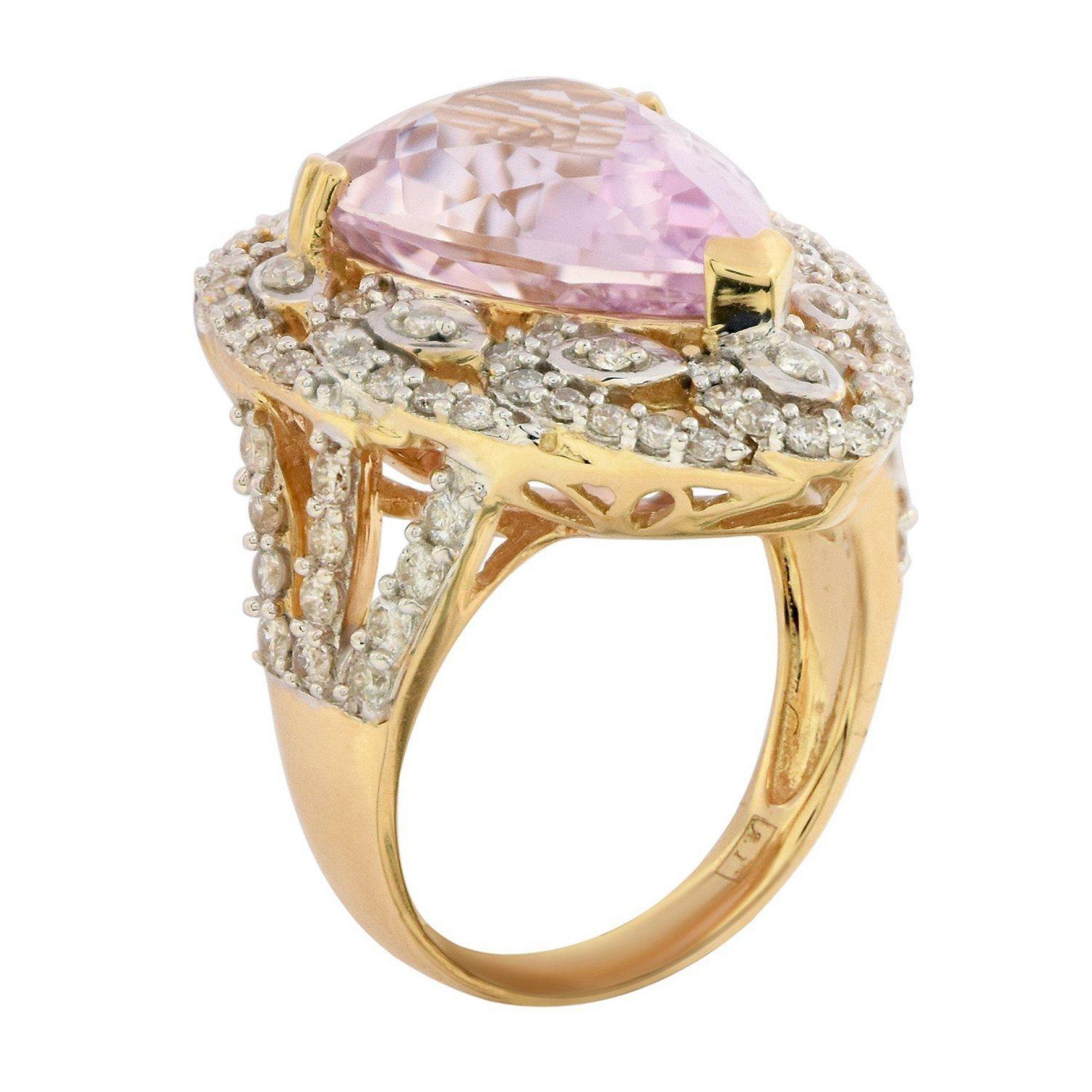 11.95ct Kunzite and 1.33ctw Diamond 14KT Yellow Gold Ring