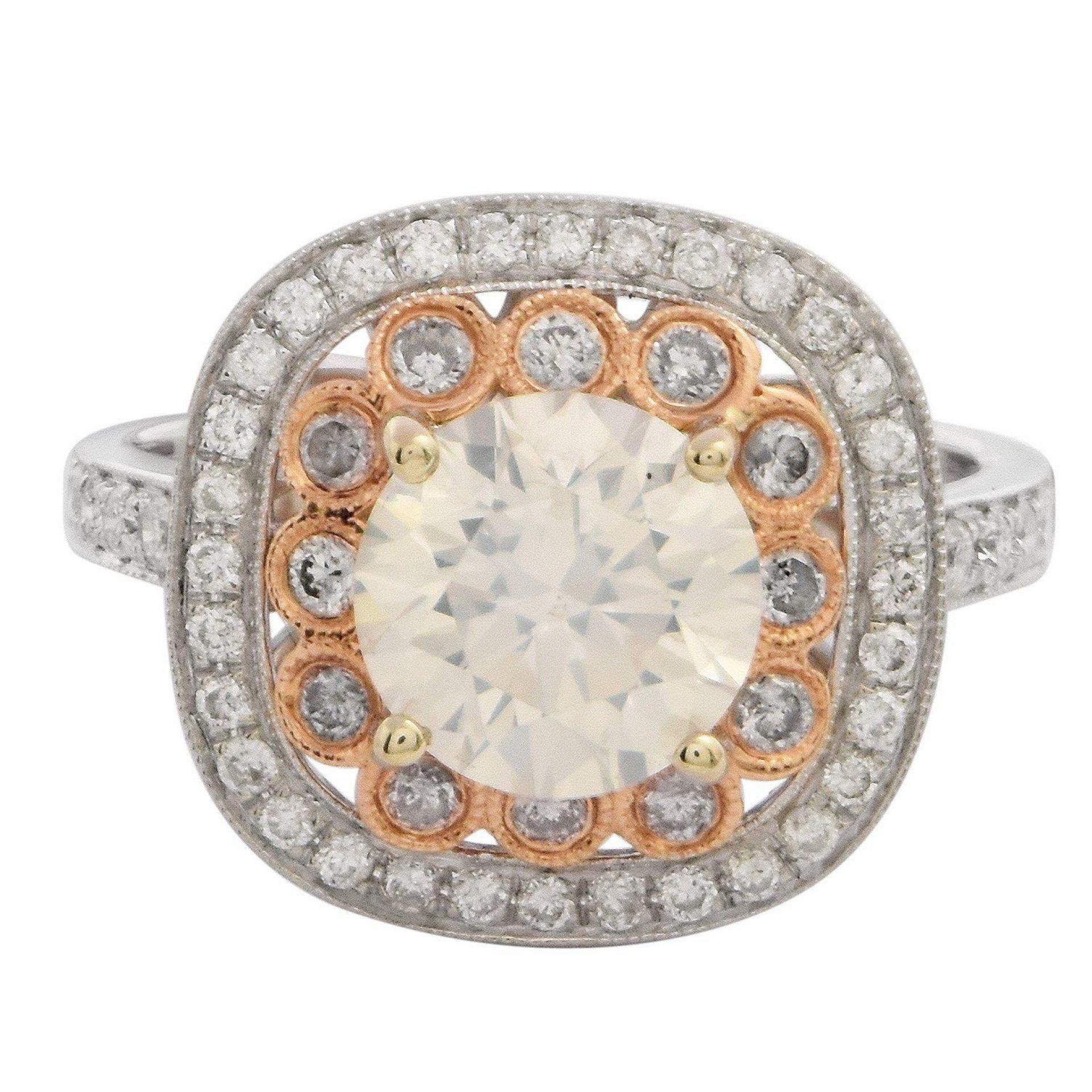1.77ct SI3 CLARITY CENTER Diamond 18KT White Gold Ring (2.38ctw Diamonds) EGL US