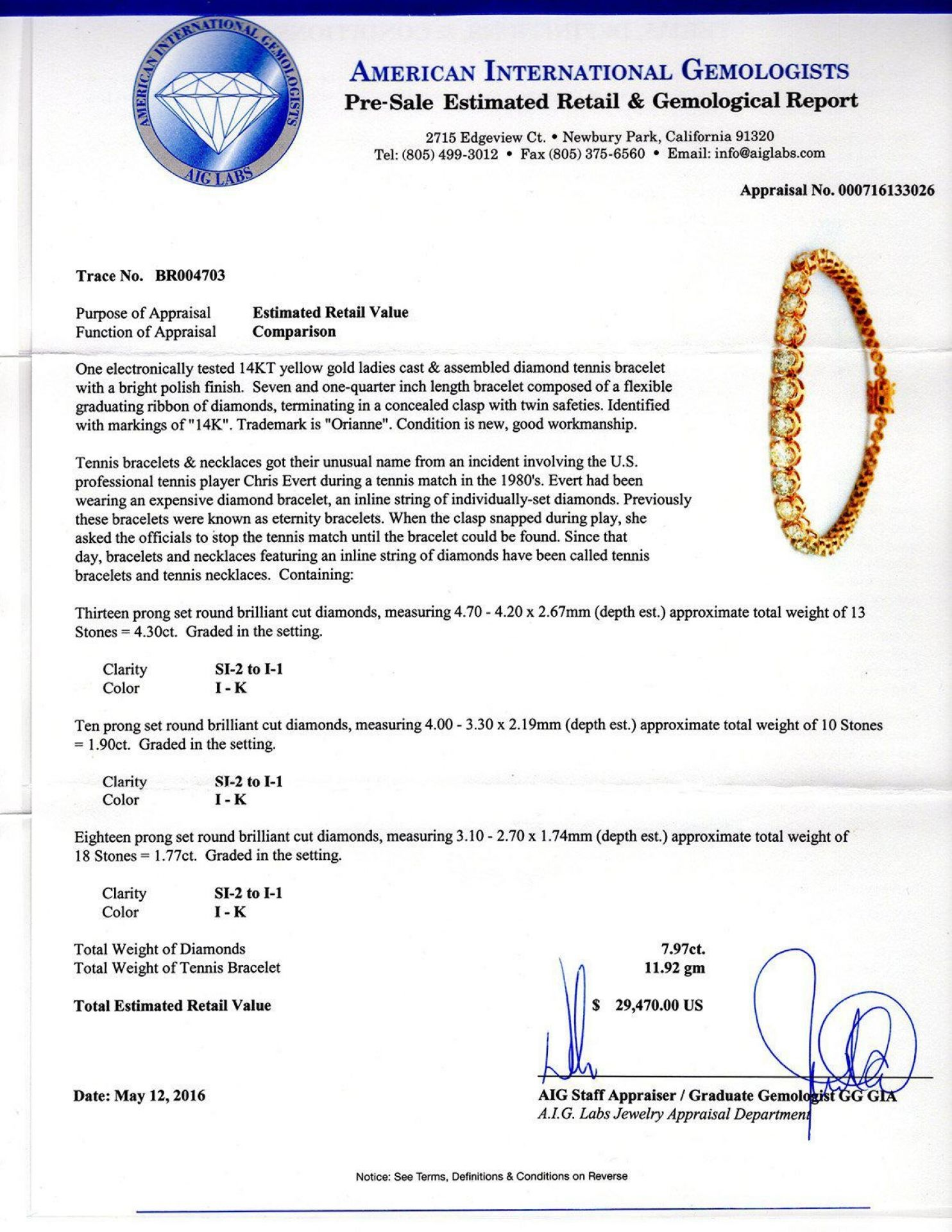 7.97ctw Diamond 14KT Yellow Gold Tennis Bracelet