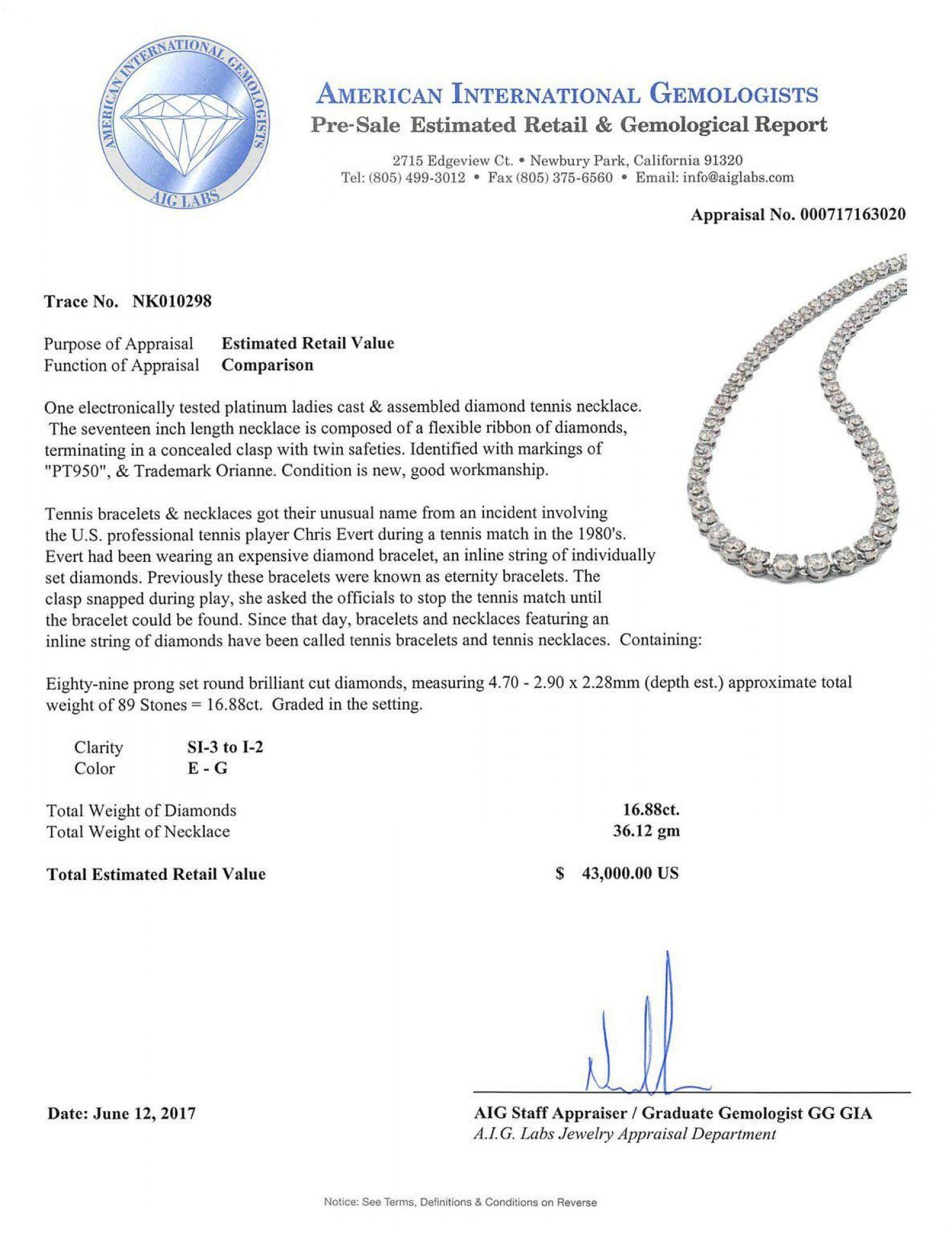 16.88ctw Diamond Platinum Tennis Necklace