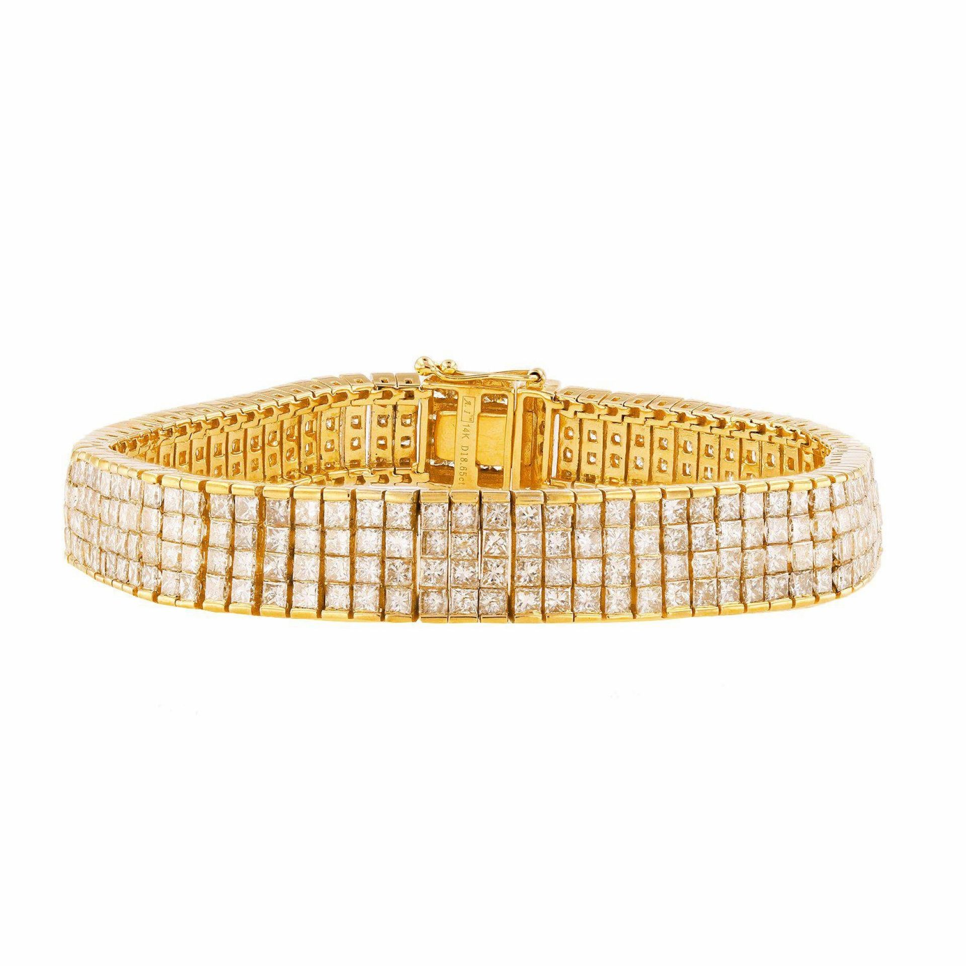 18.65ctw Diamond 14KT Yellow Gold Tennis Bracelet