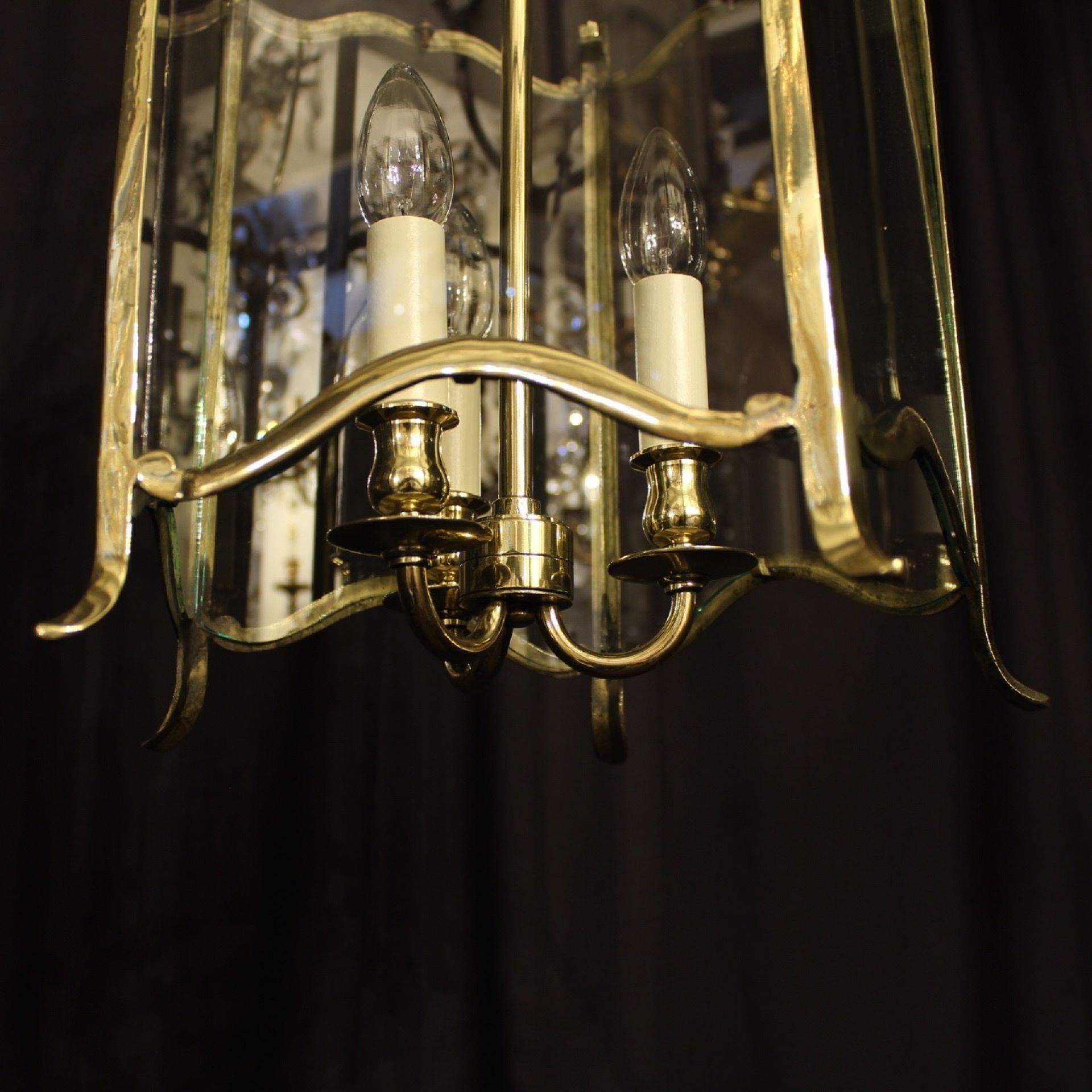English Triple Light Brass Antique Hall Lantern