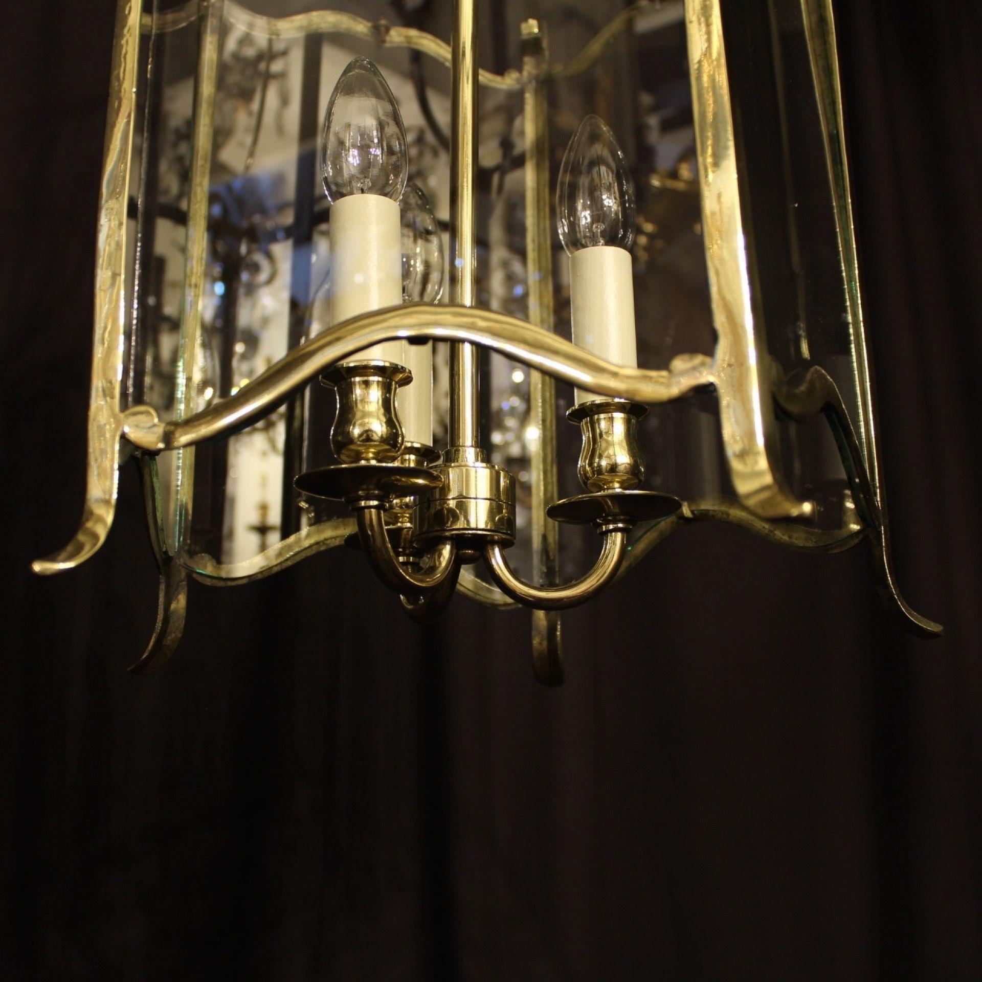 English Triple Light Brass Antique Hall Lantern
