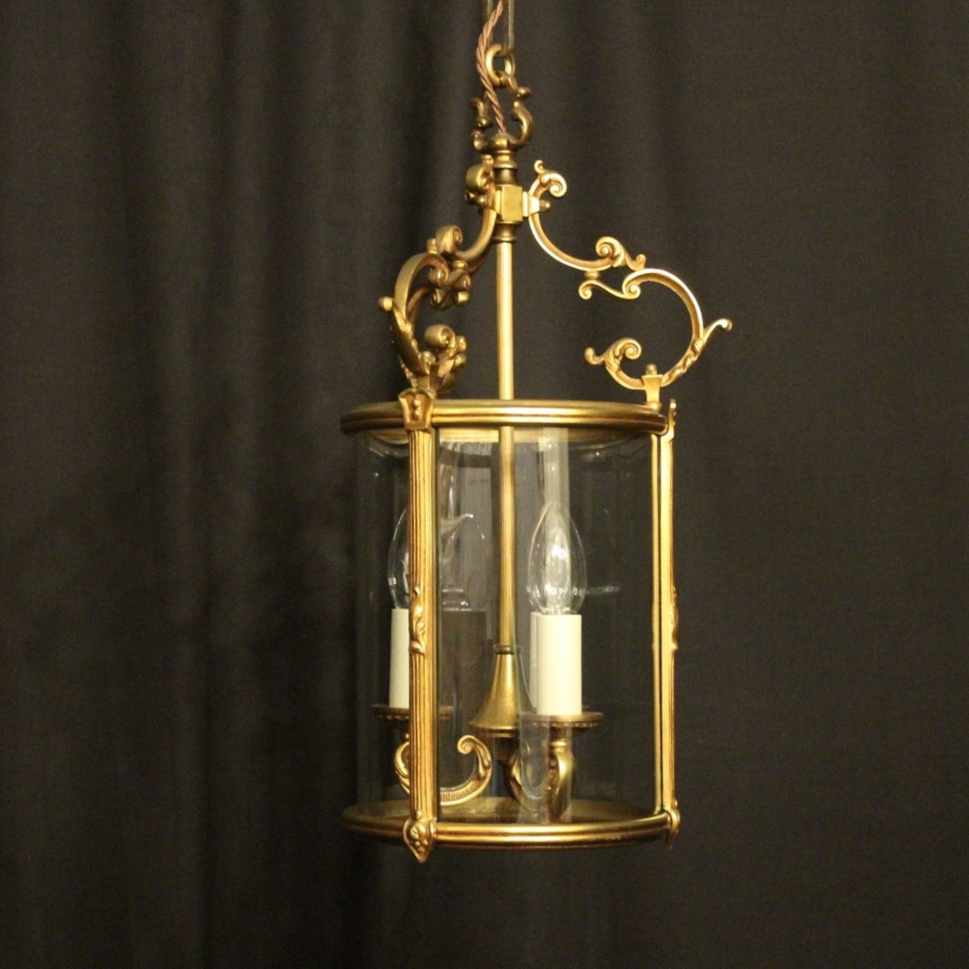 French Gilded Bronze Antique Hall Lantern