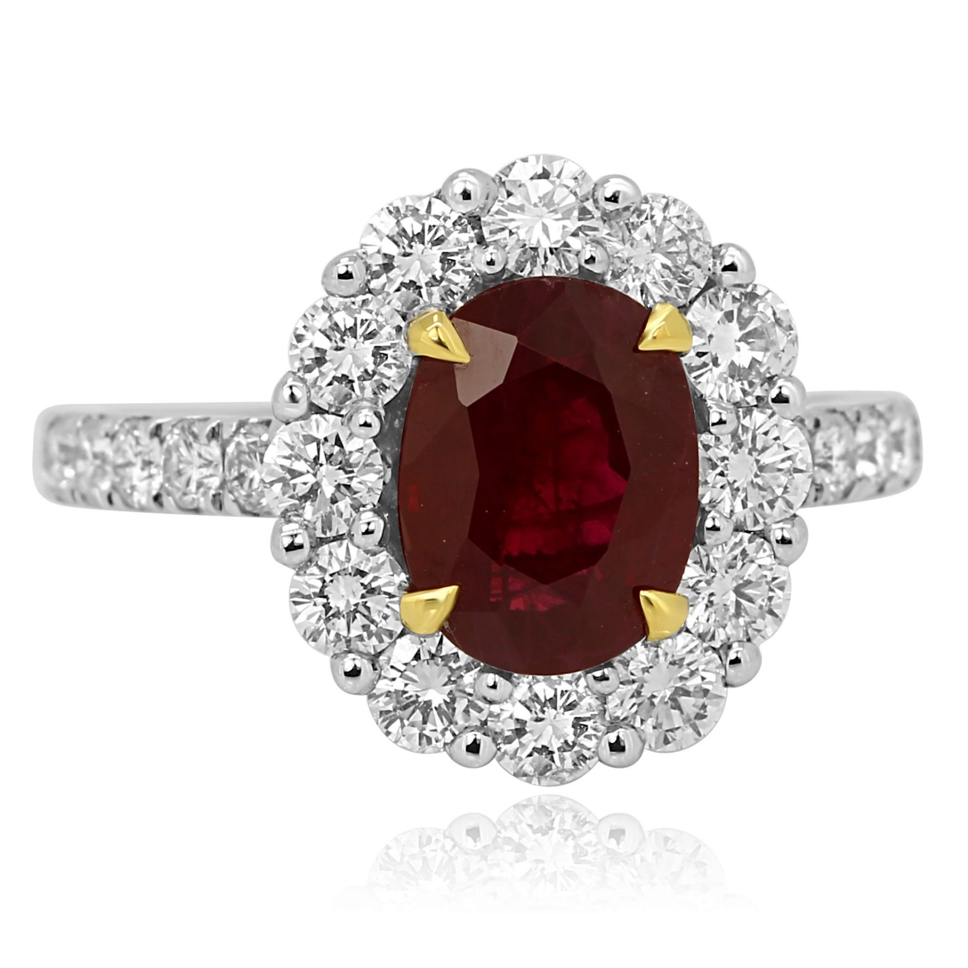 GIA Certified Burma Ruby Oval 2.48 Carat Single Halo Two Color Gold Bridal