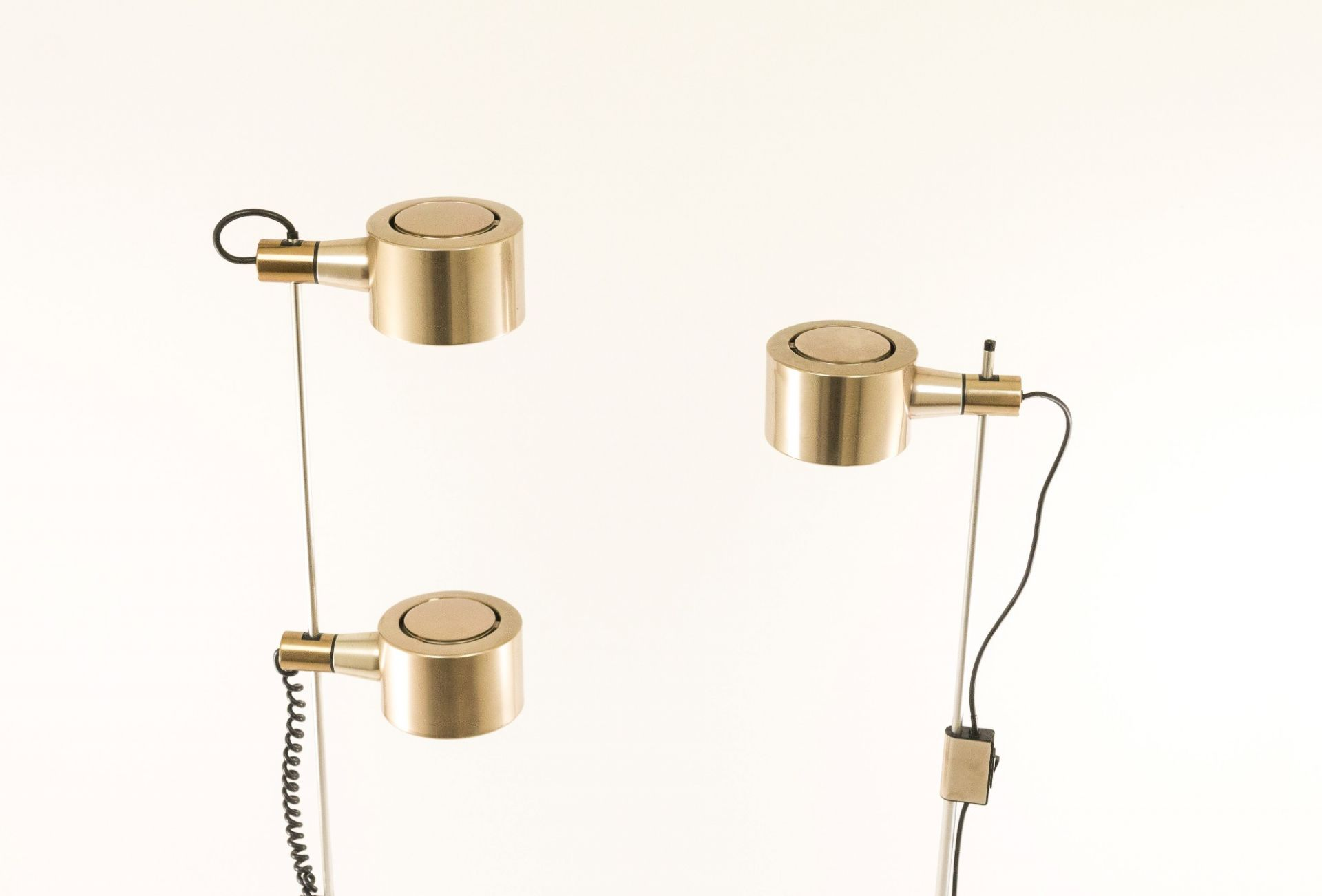 Set of two brass and chromed floor lamps, 1960s