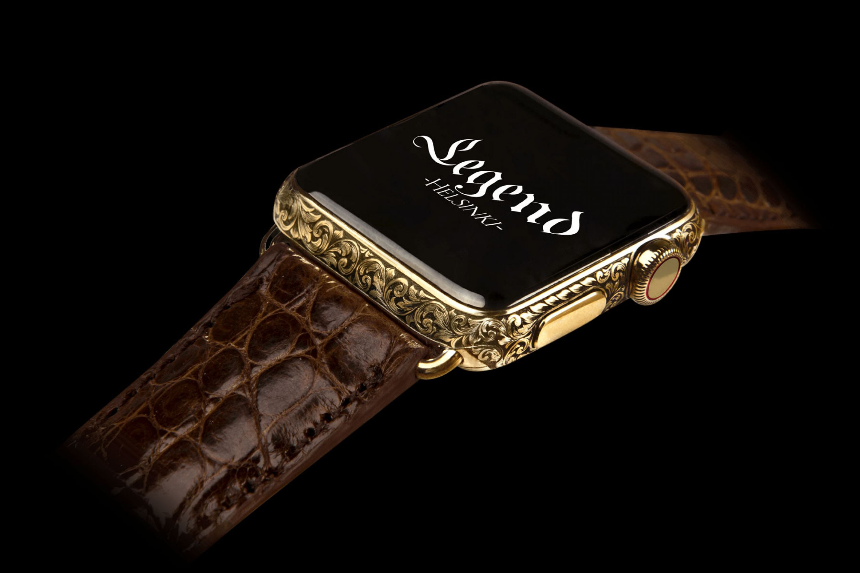 Luxury Apple Watch series 4 by Legend, 24k gold hand engraved case - Tempo