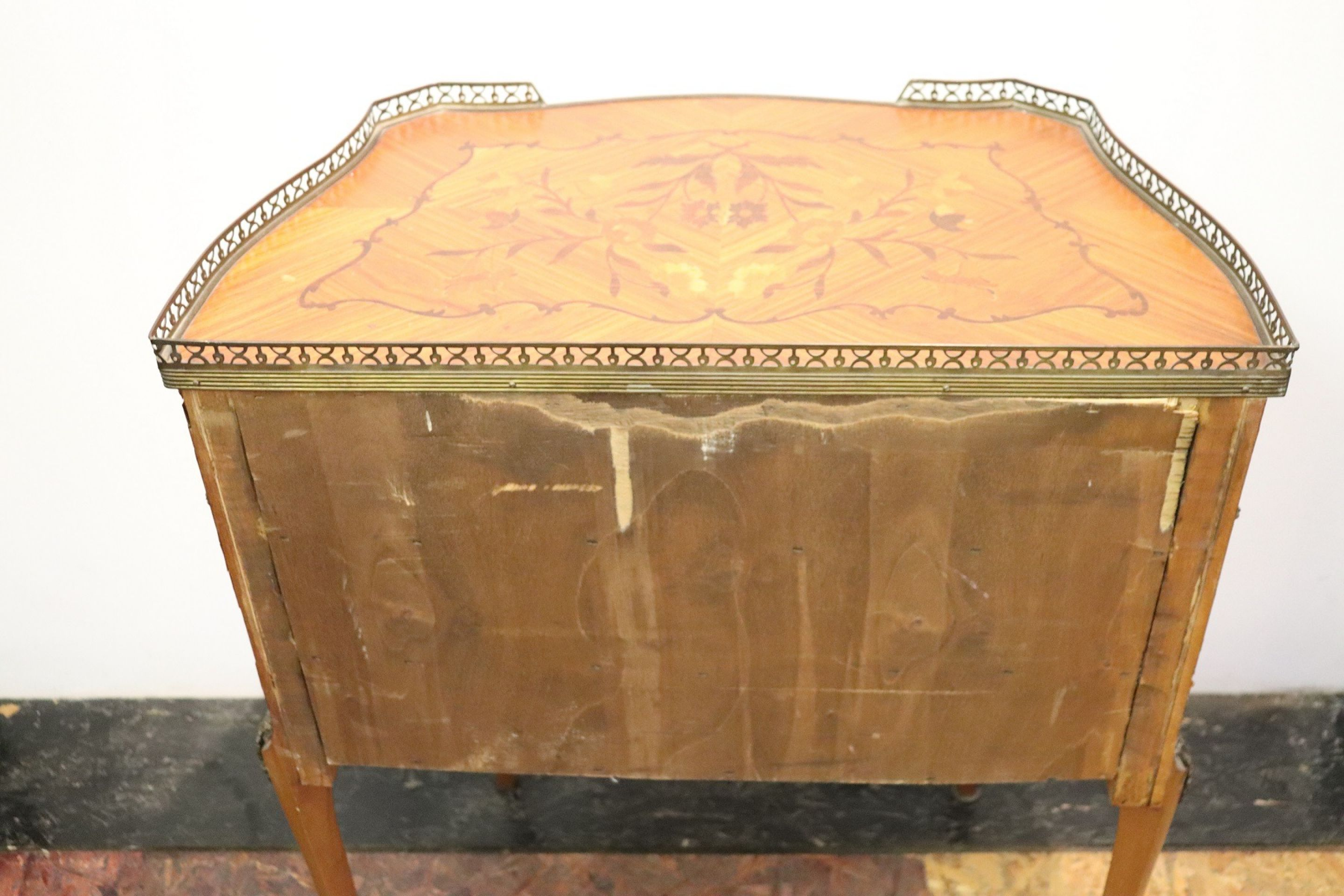 20th Century Italian Louis XV Style Inlay Wood and Golden Bronzes Side Table