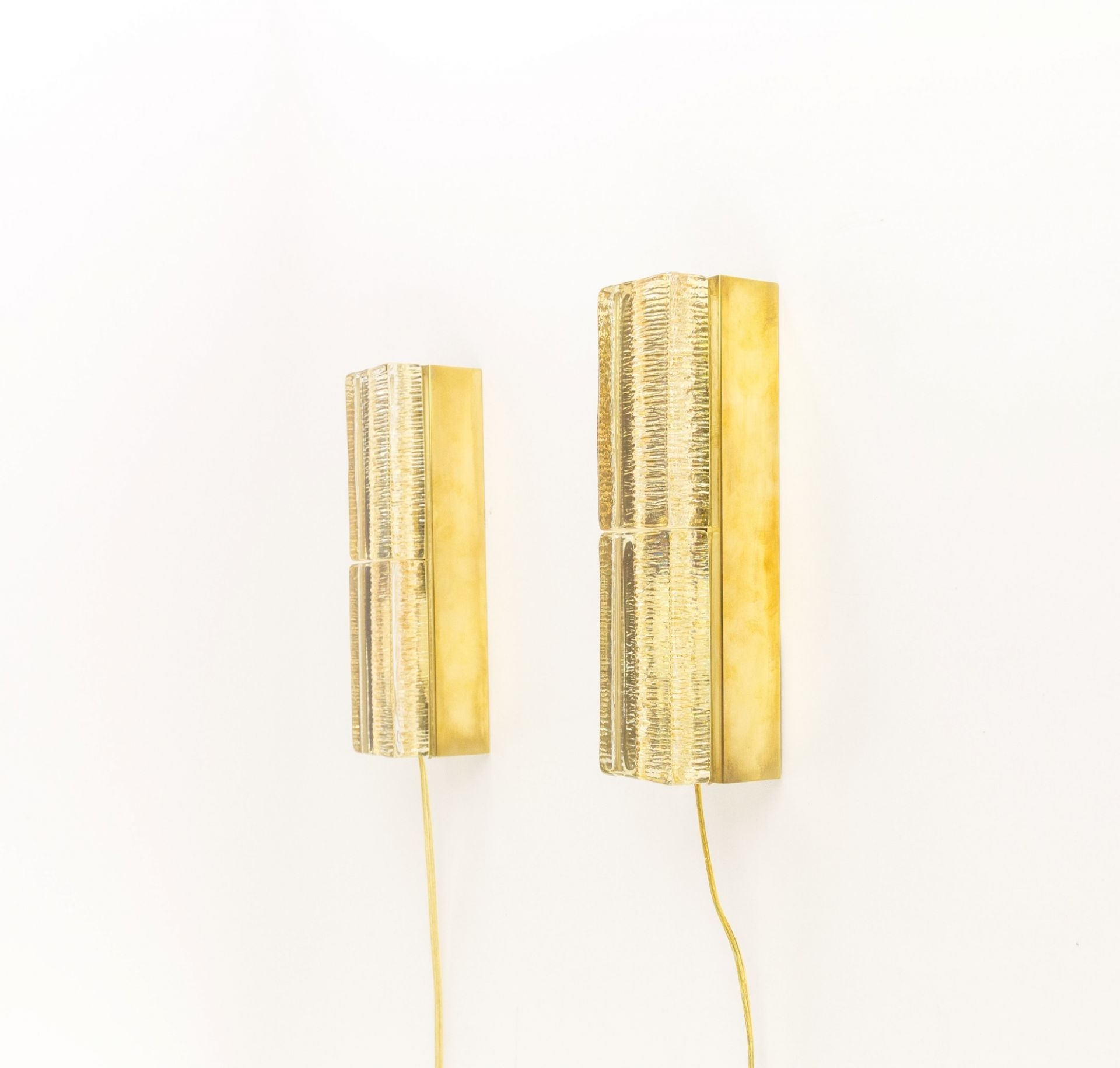 Pair of Glass and Brass Double Atlantic Wall lamps by Vitrika in Gold, 1970s