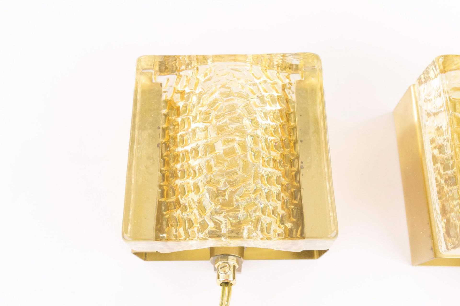 Pair of Kalmar glass and brass Wall lamps in gold by Vitrika, 1970s