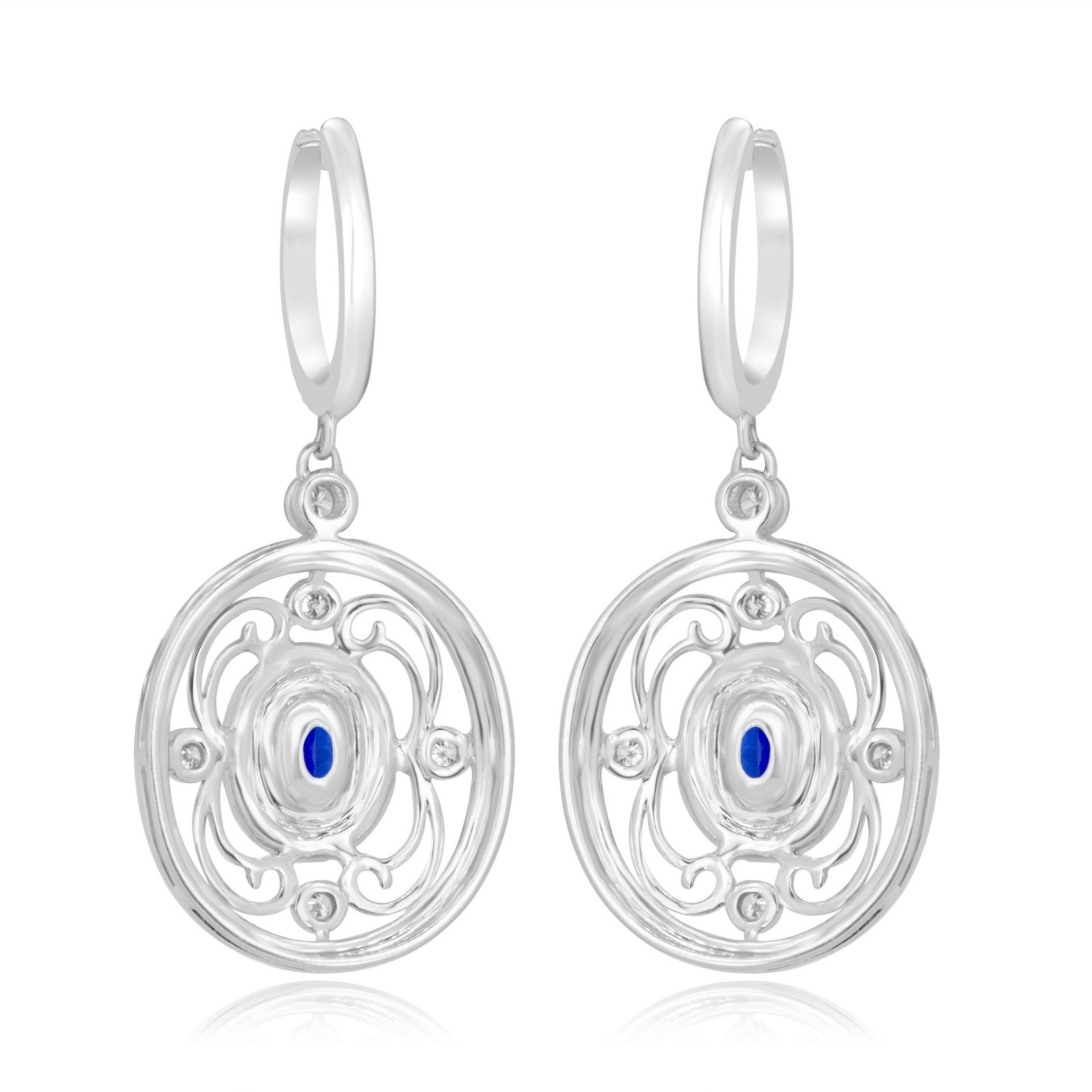 Blue Sapphire Diamond Halo Dangle Gold Earring