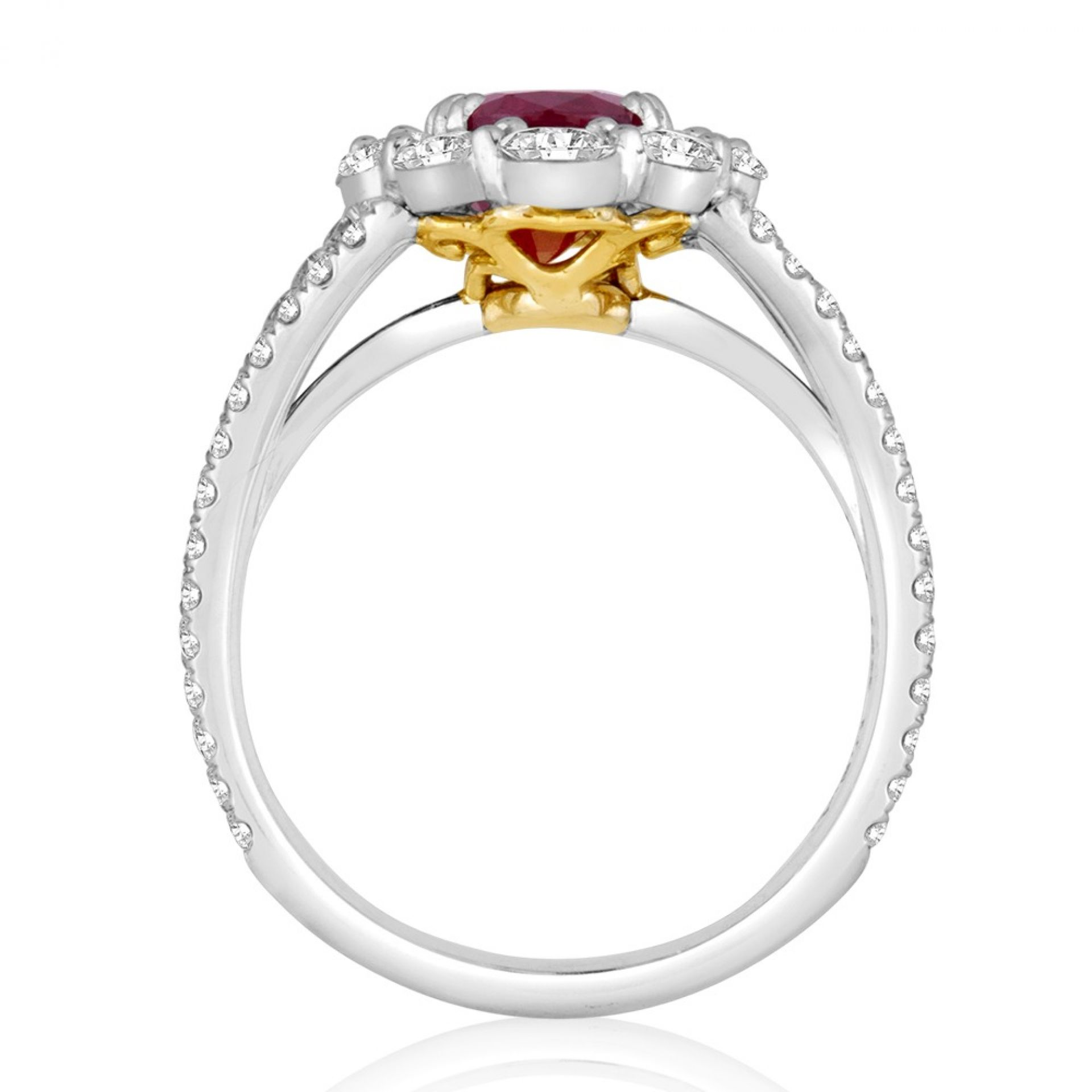 Pigeons Blood GIA Certified No Heat Burma Ruby Oval Halo Two Color Gold Ring